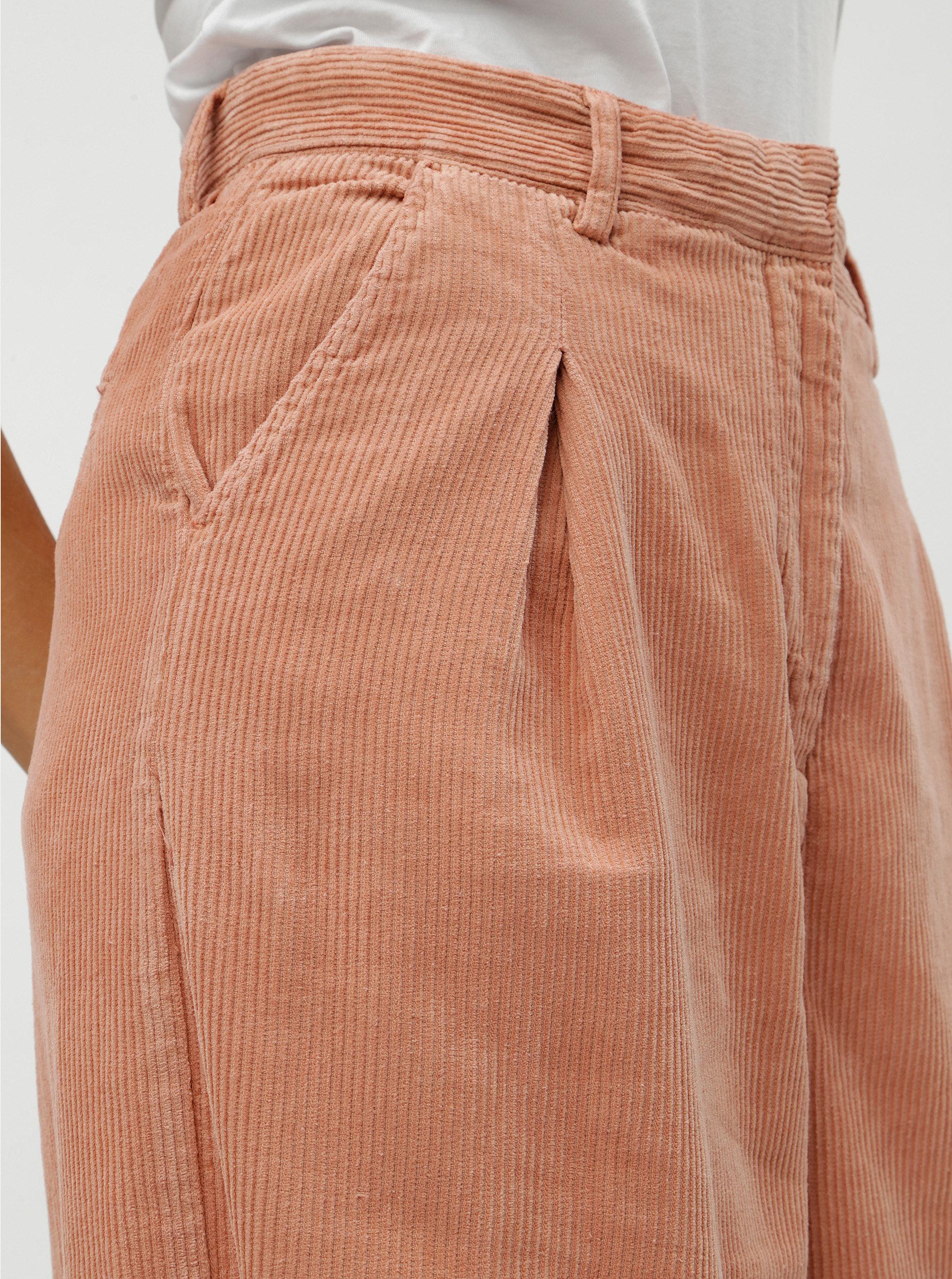 29a8a58e141 Růžové dámské volné manšestrové kalhoty s vysokým pasem Kings of Indigo  Maxima ...