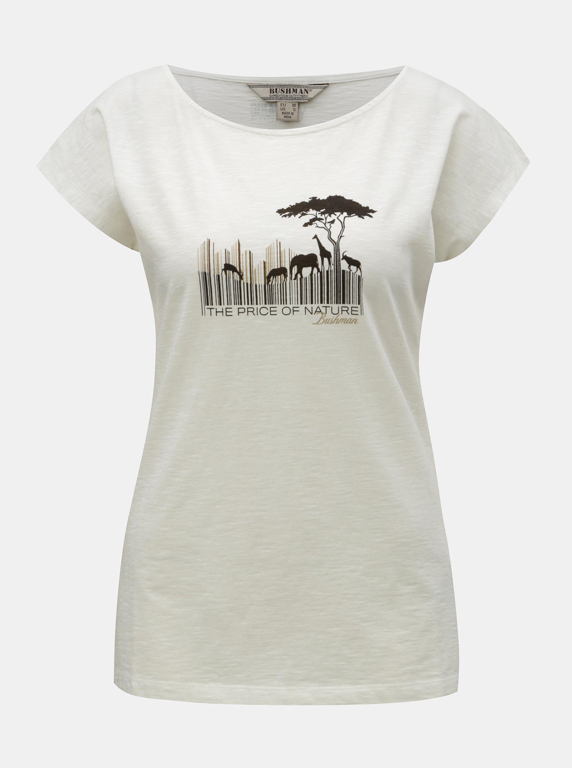 6aa9b44b92a Krémové dámské tričko s potiskem BUSHMAN Fredonia ...