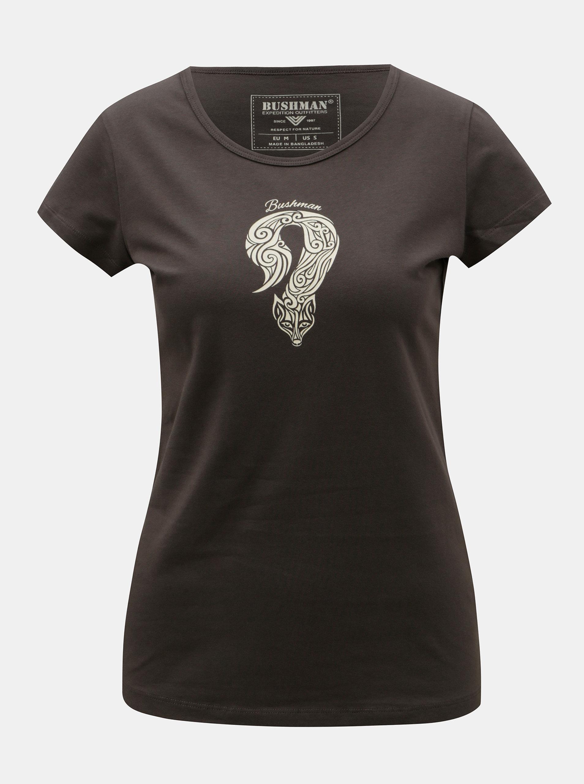 Hnědé dámské tričko s potiskem BUSHMAN Lodi ... 921ac05e81