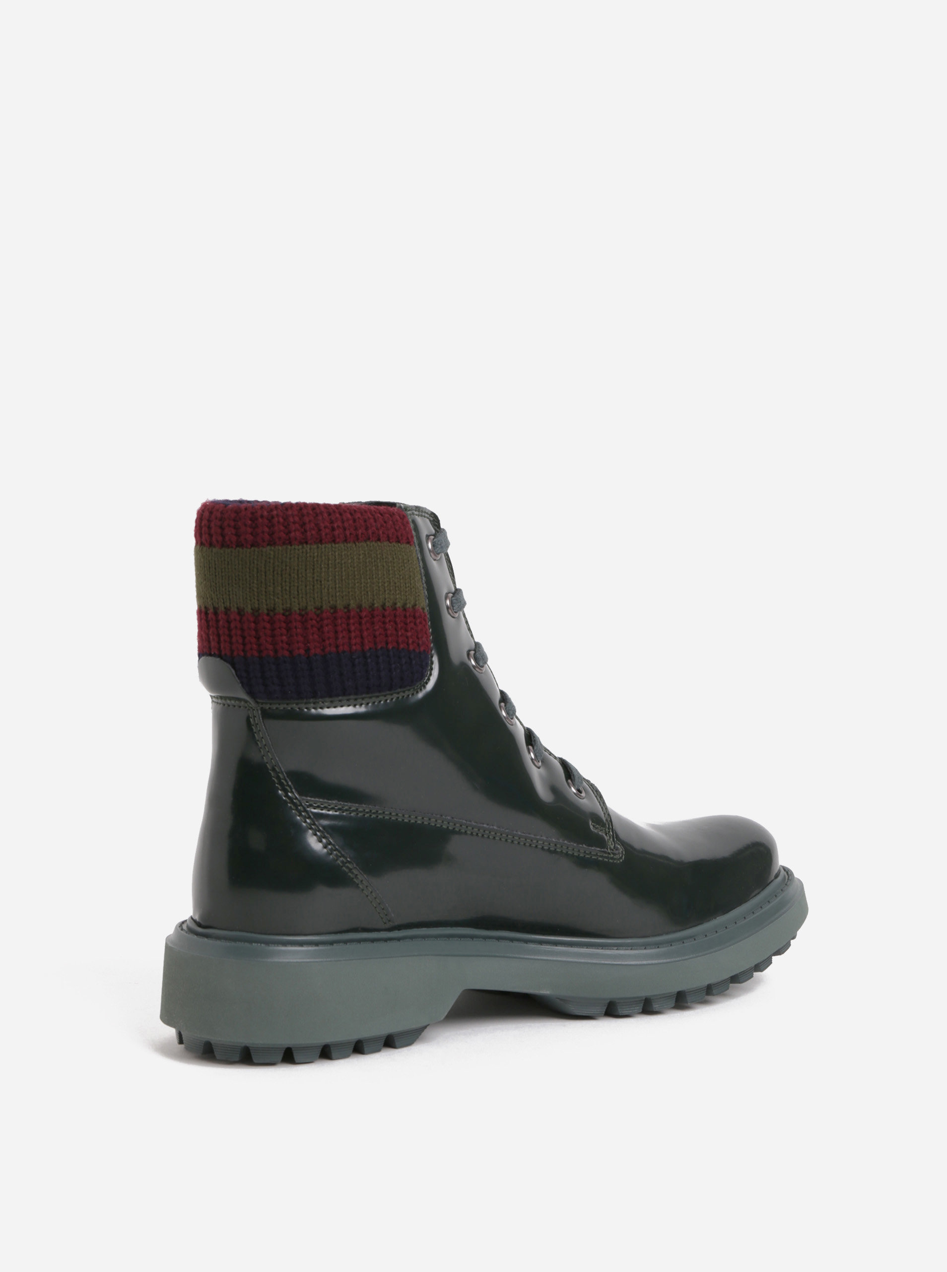 fe8175cd9a390 Tmavozelené dámske členkové topánky s úpletovým lemom Geox Asheely ...