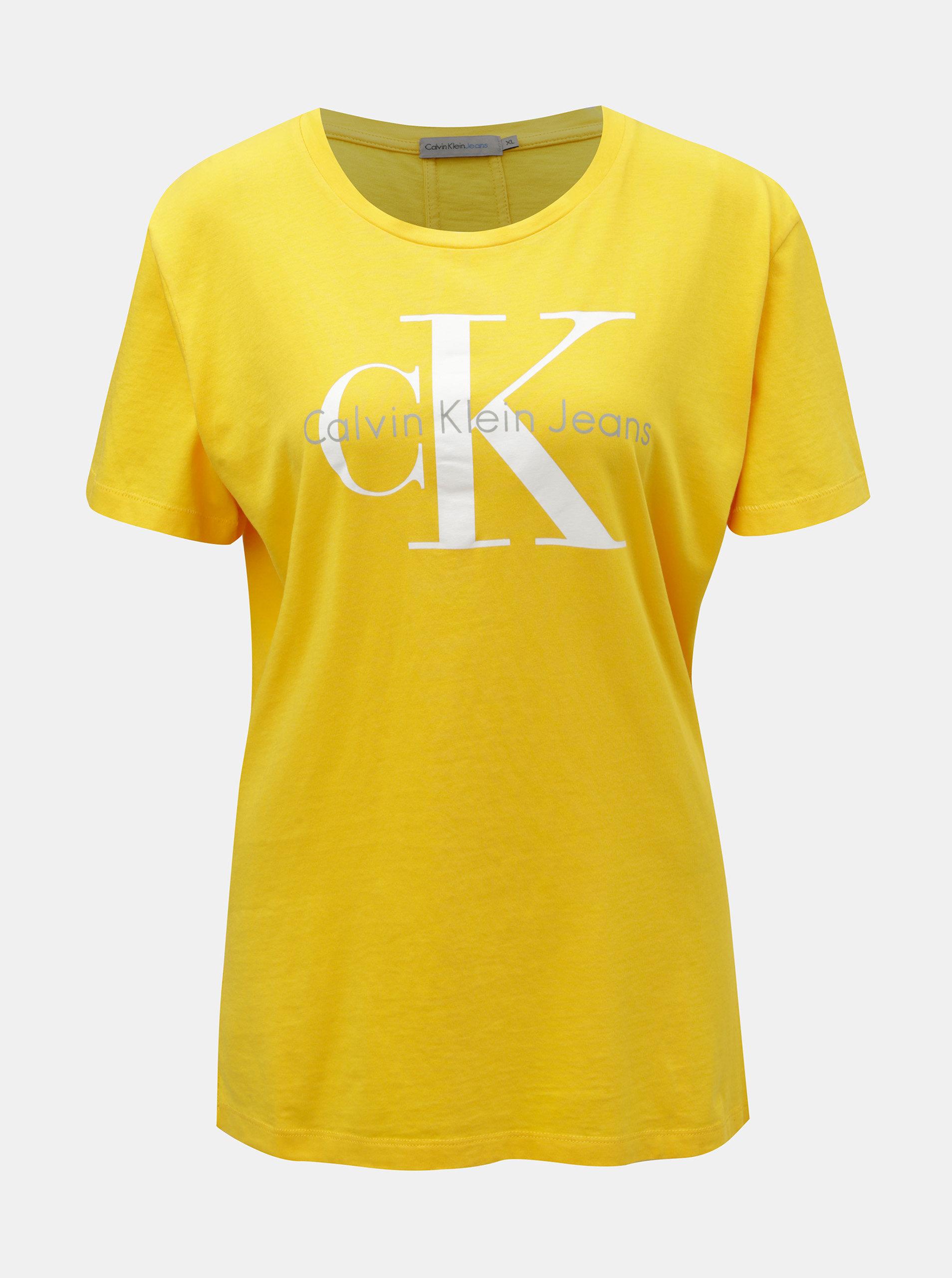 Žluté dámské tričko s potiskem Calvin Klein Jeans ... 3b479ba94d