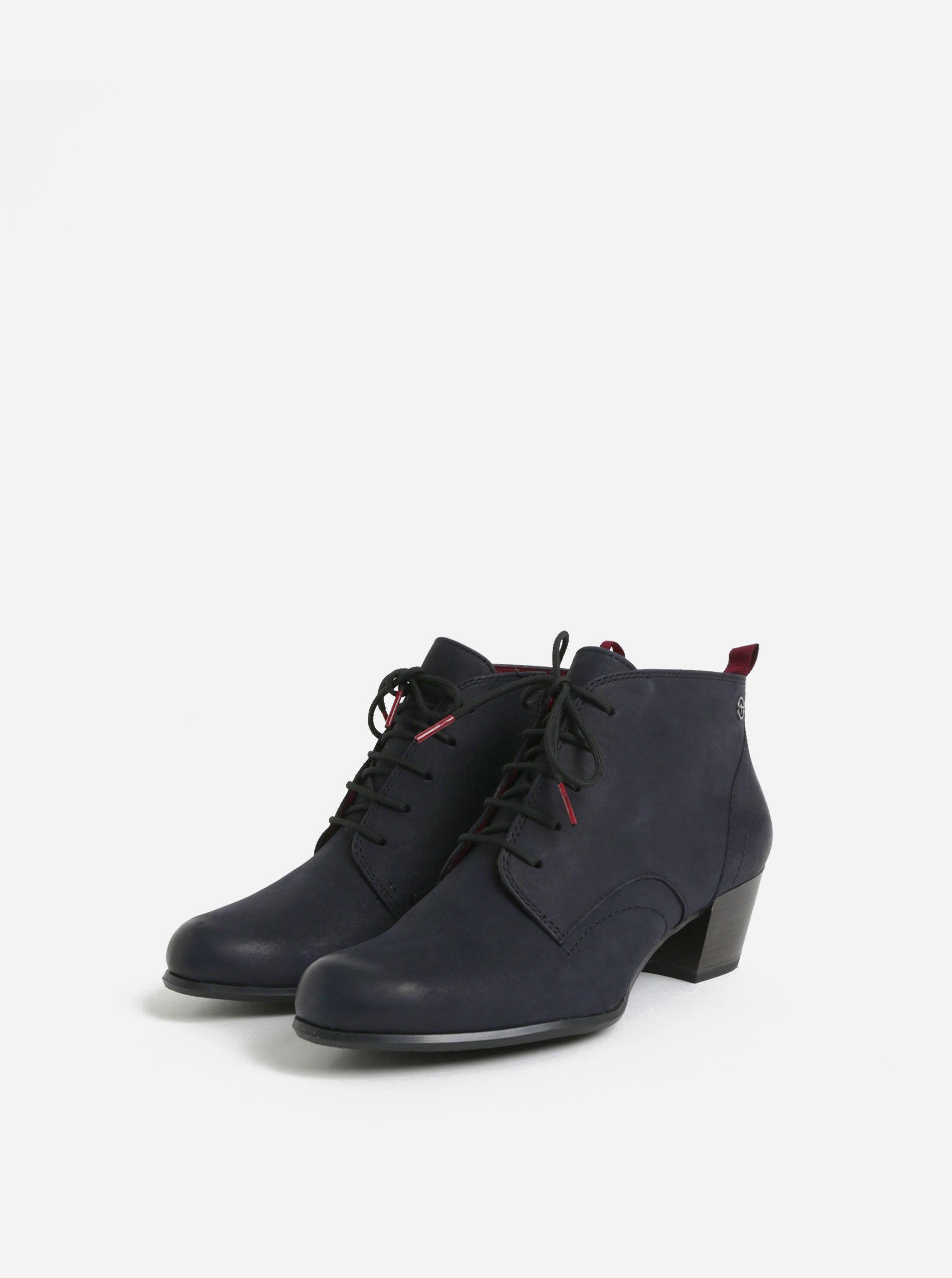 e797d9b87cd5 Tmavě modré kožené kotníkové boty Tamaris ...