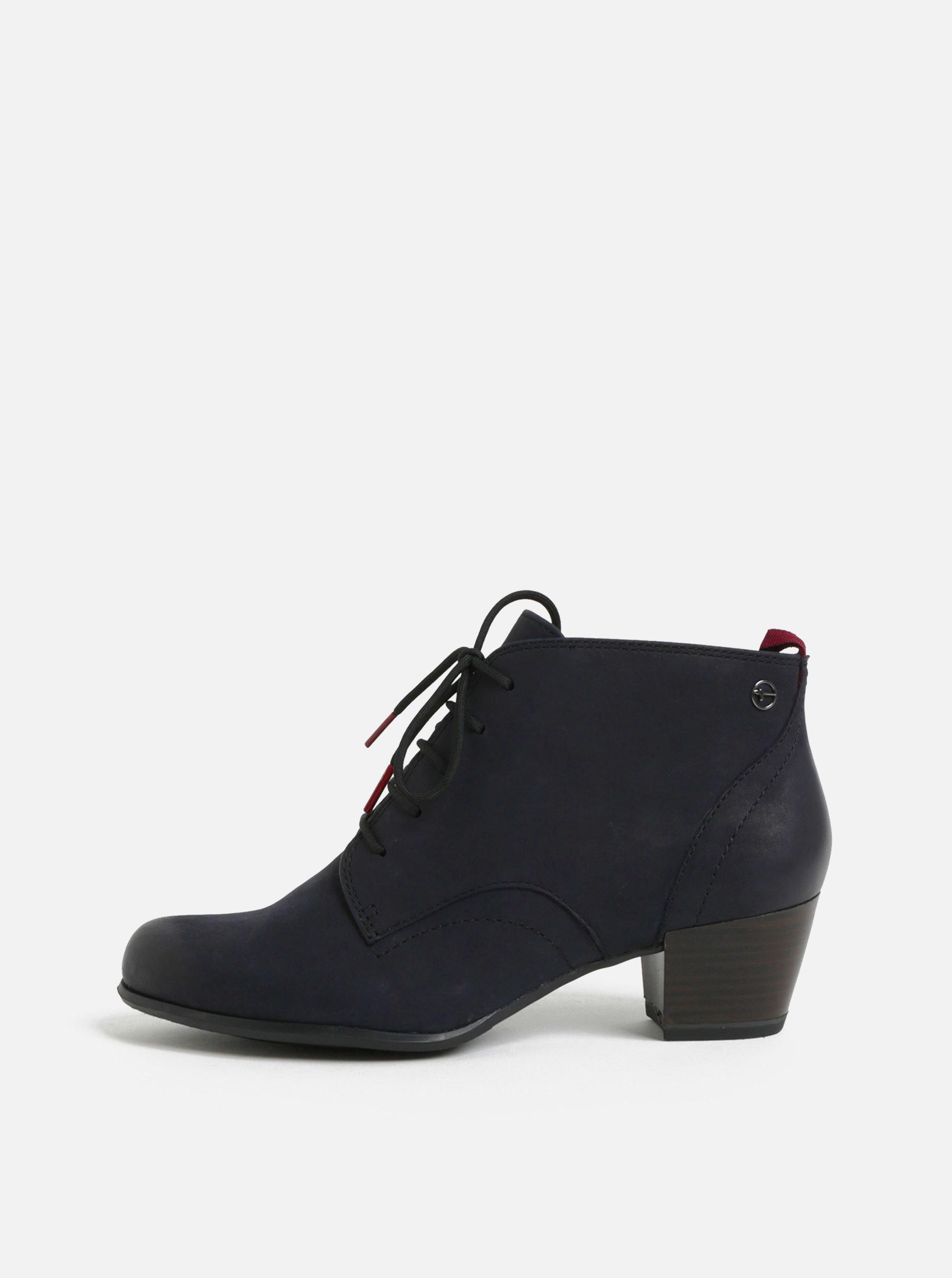7e303706ec8a Tmavě modré kožené kotníkové boty Tamaris ...
