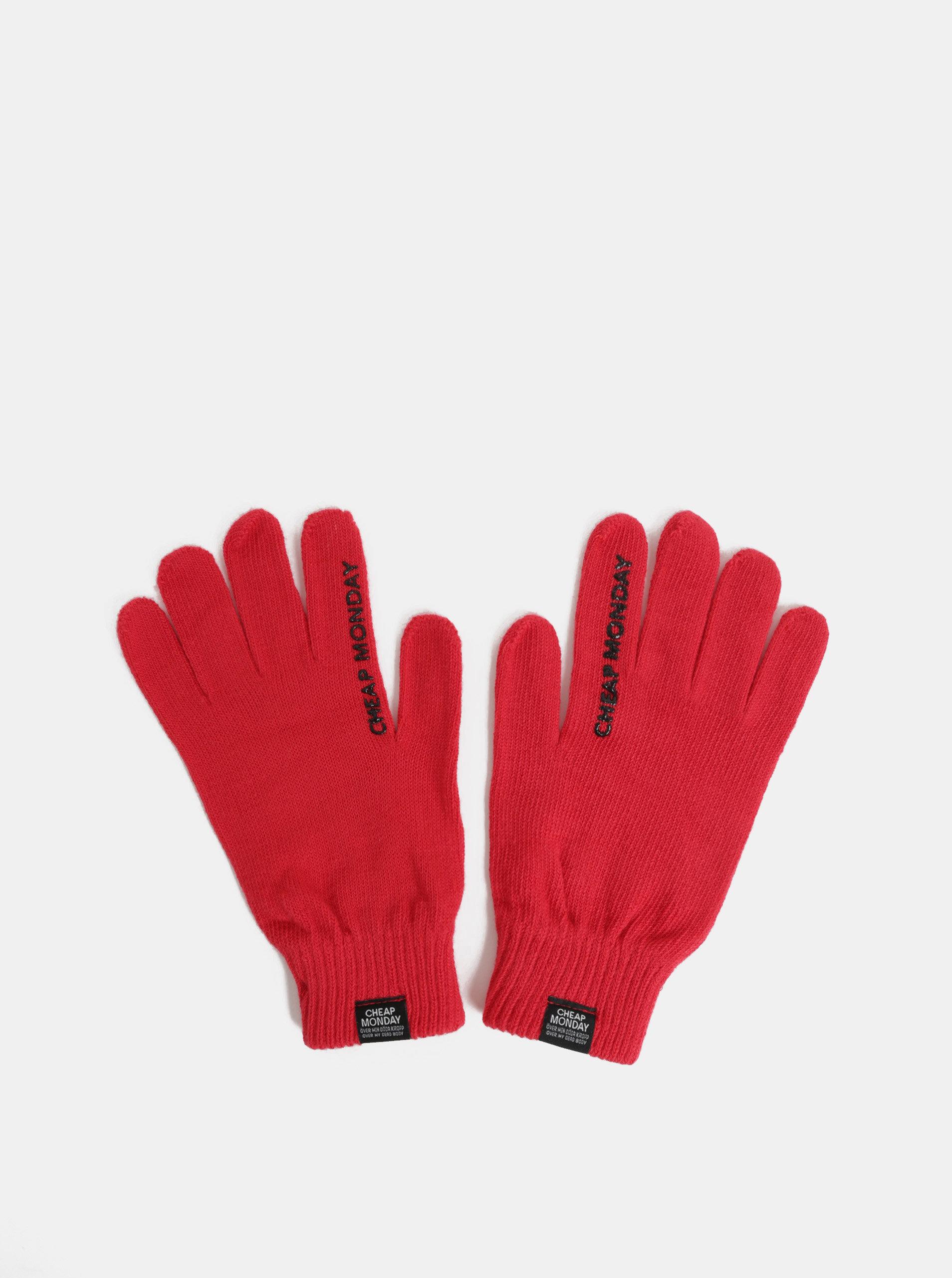 Červené zimní rukavice Cheap Monday