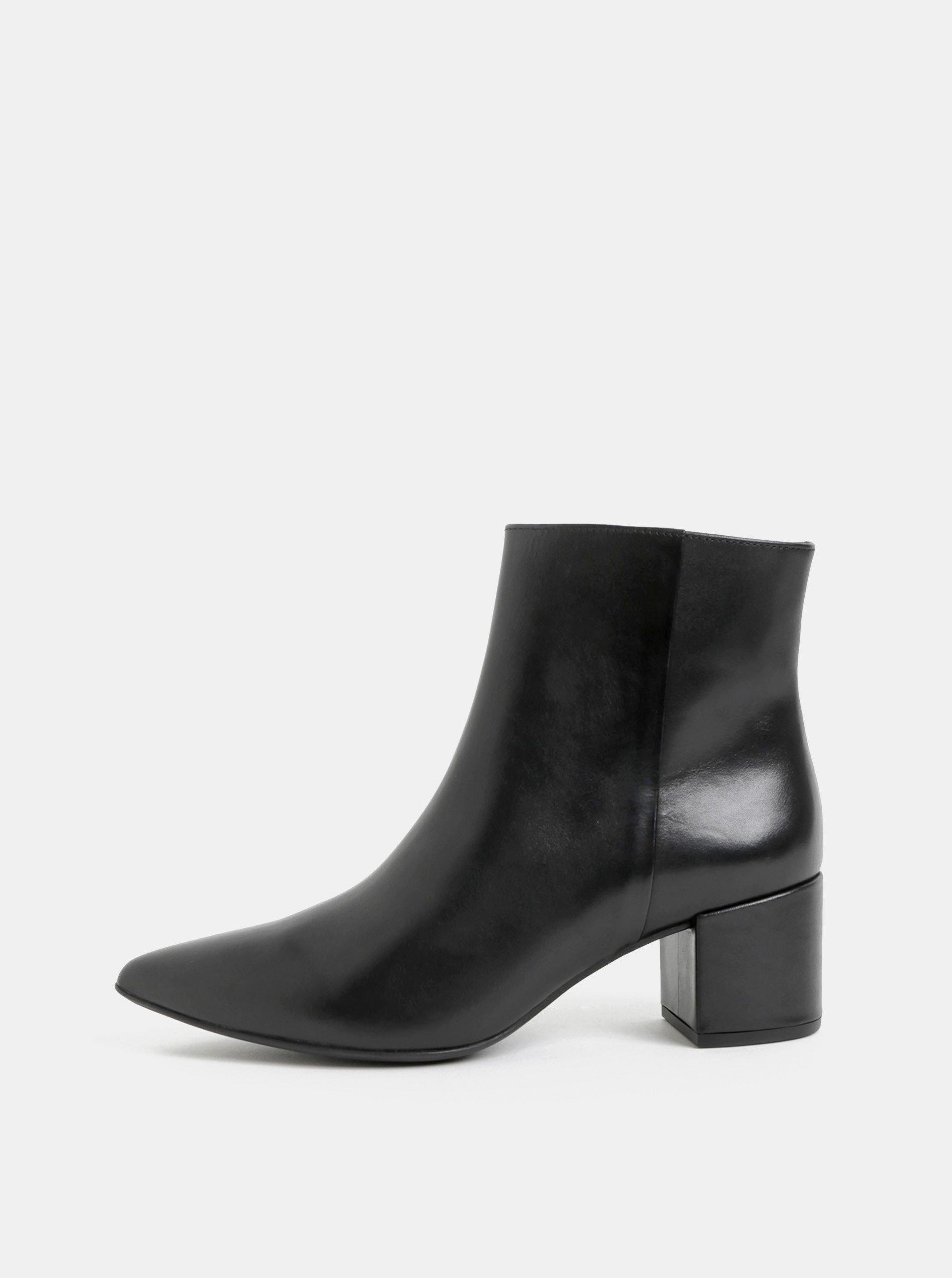 9d093db0fa Čierne kožené členkové topánky na podpätku Högl ...