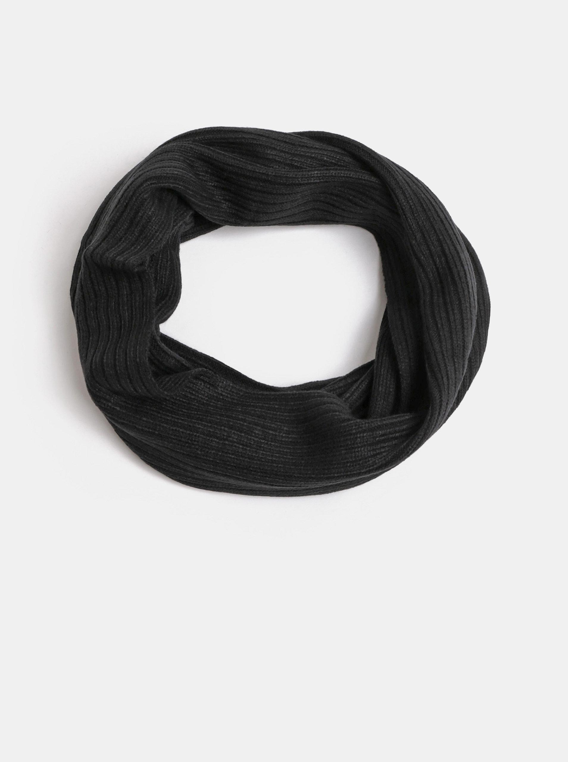 Černá pletená dutá šála Jack & Jones Tube