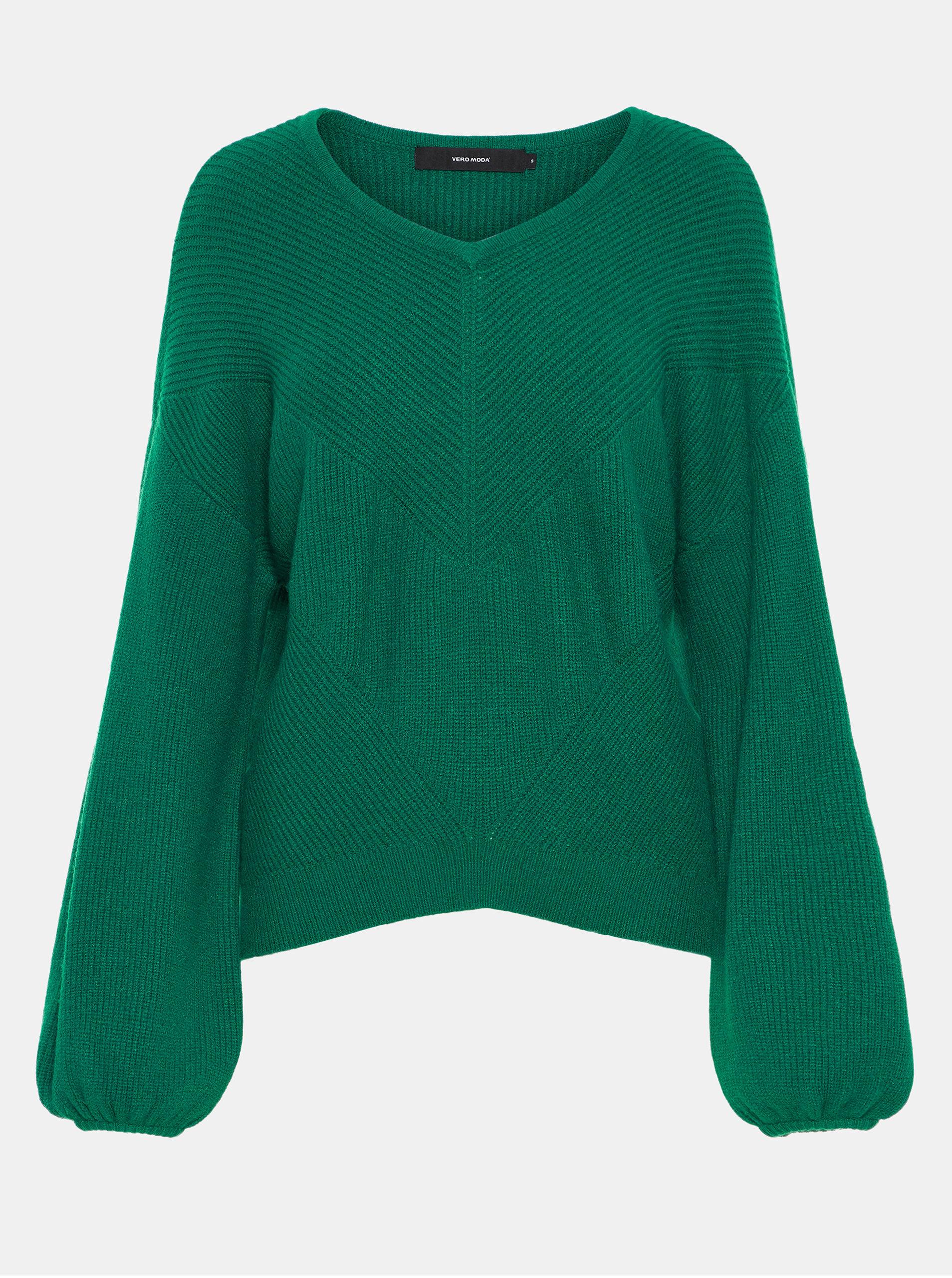 5ca096a492c Tmavě zelený pletený svetr s balónovými rukávy VERO MODA Diva ...