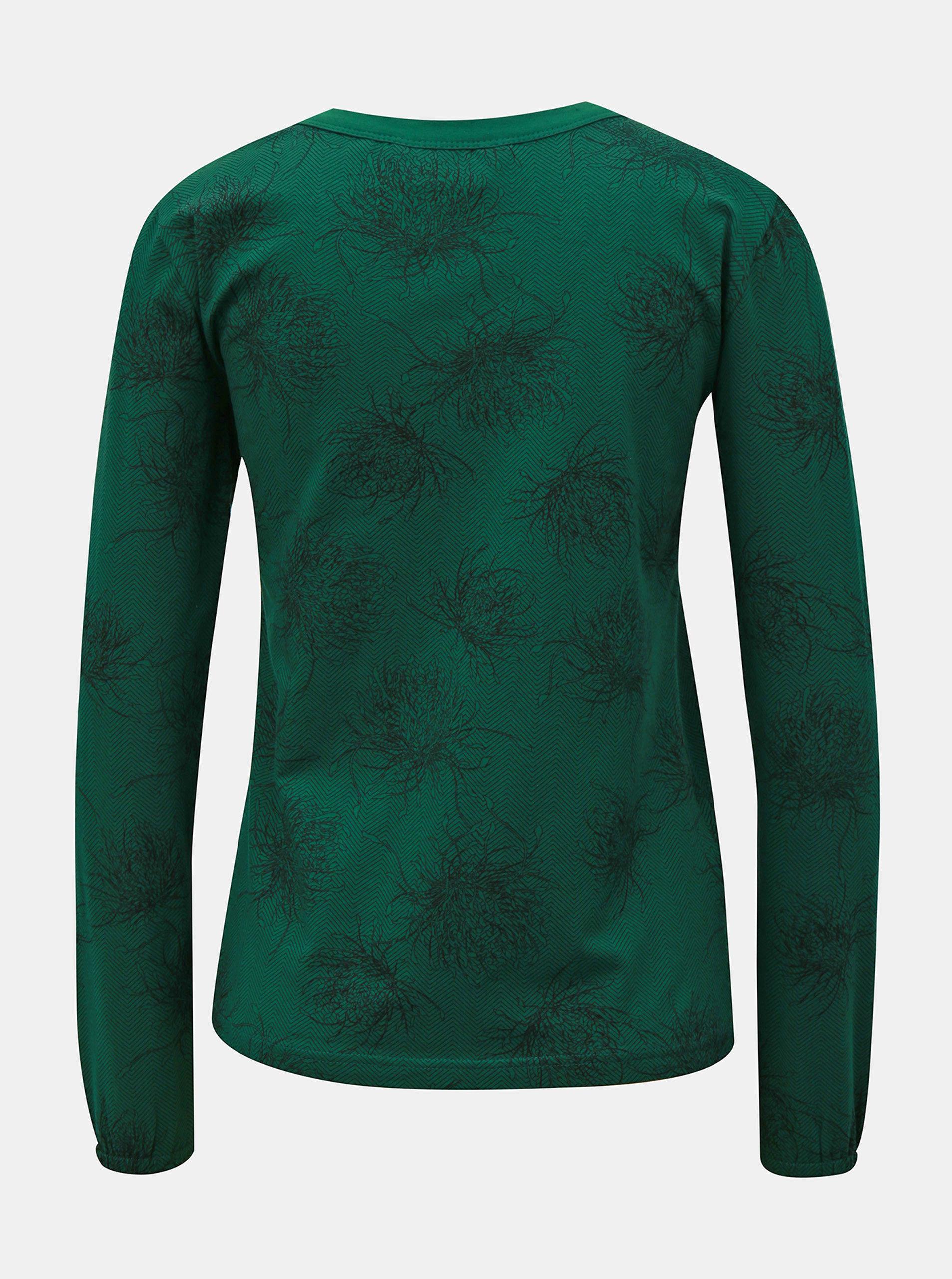 80ff8deaa82 Zelené vzorované tričko s dlouhým rukávem SKFK ...
