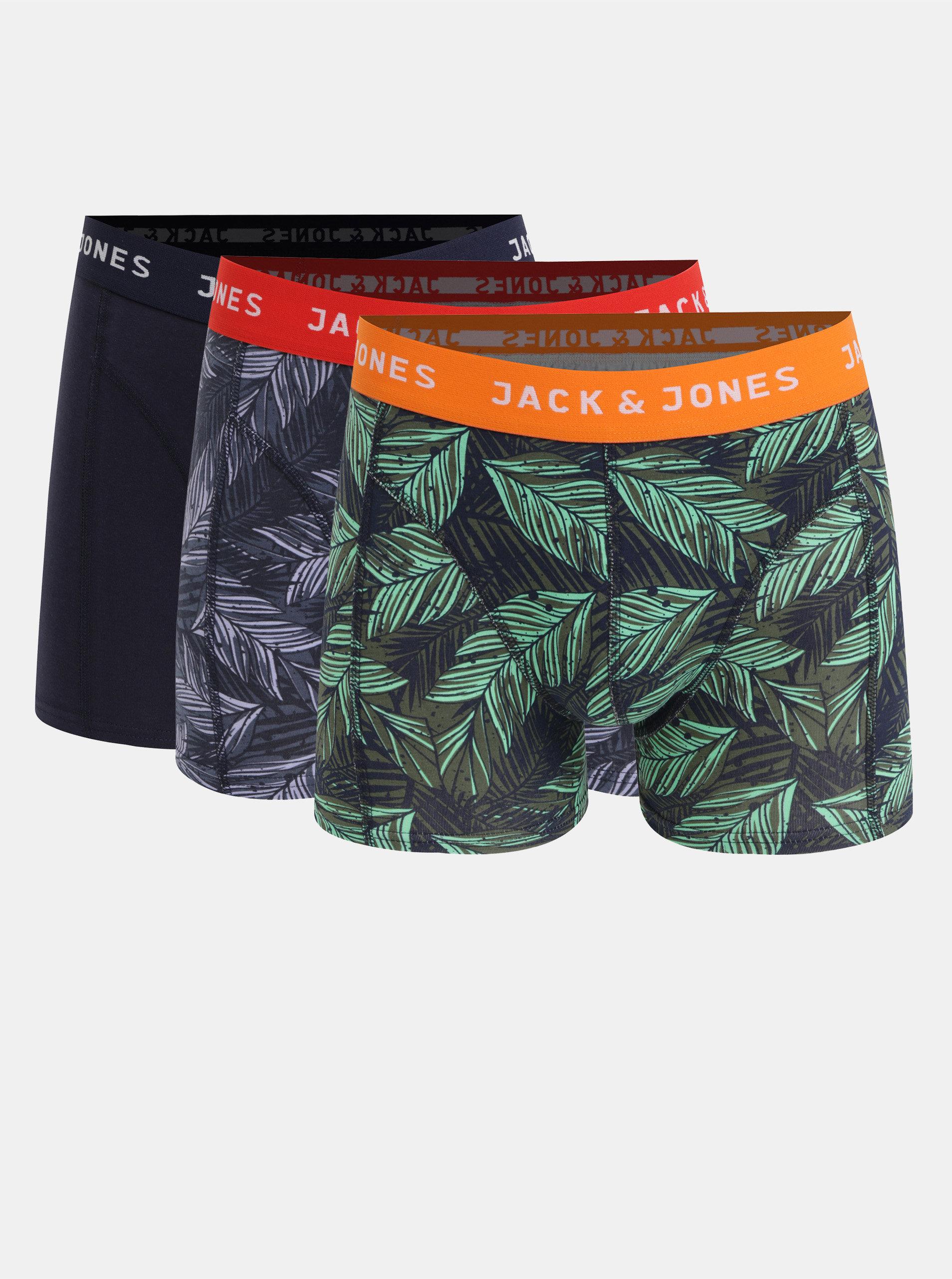 Sada tří vzorovaných boxerek v modré a zelené barvě Jack & Jones Edinburgh