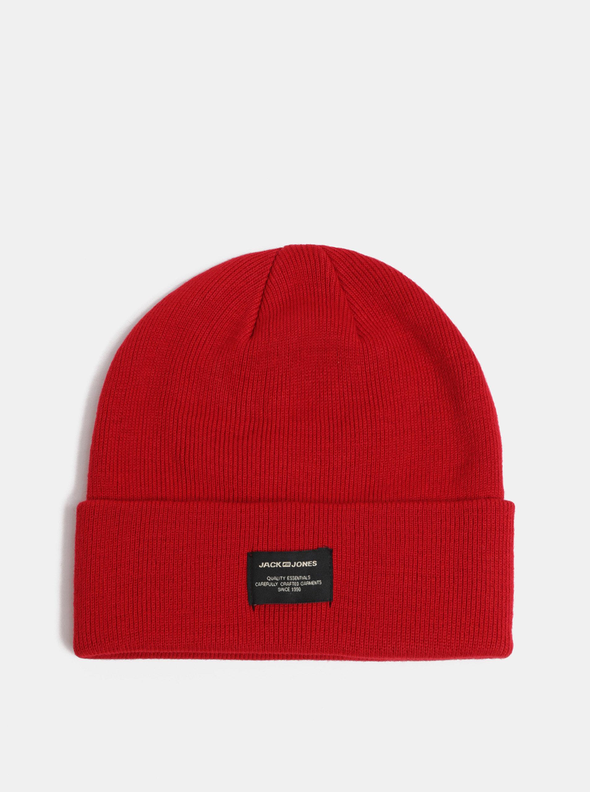 Červená pletená zimní čepice Jack   Jones DNA ... 72ff68f912