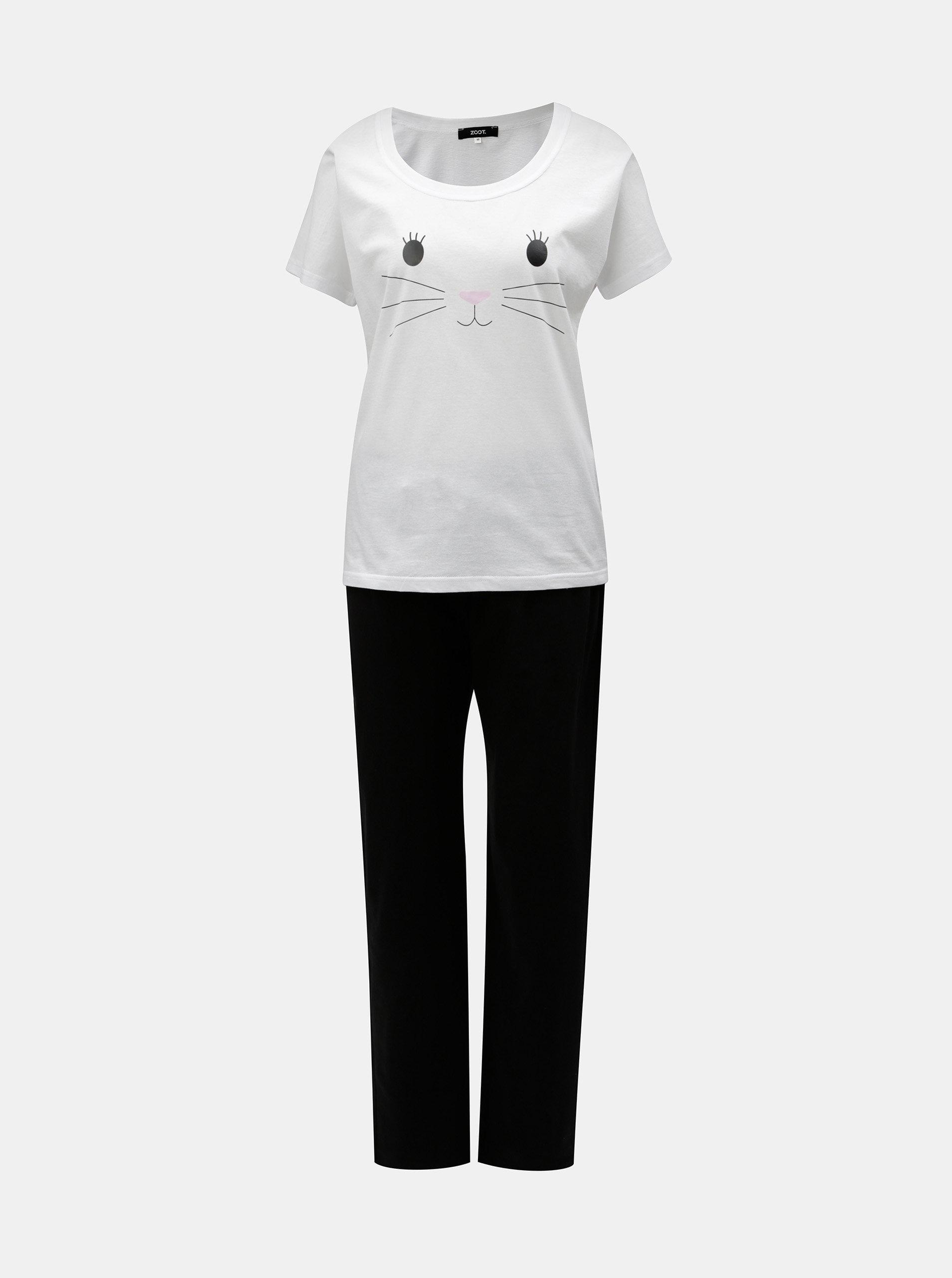Čierno–biele dámske pyžamo s motívom mačky ZOOT ... 0c5da43c422
