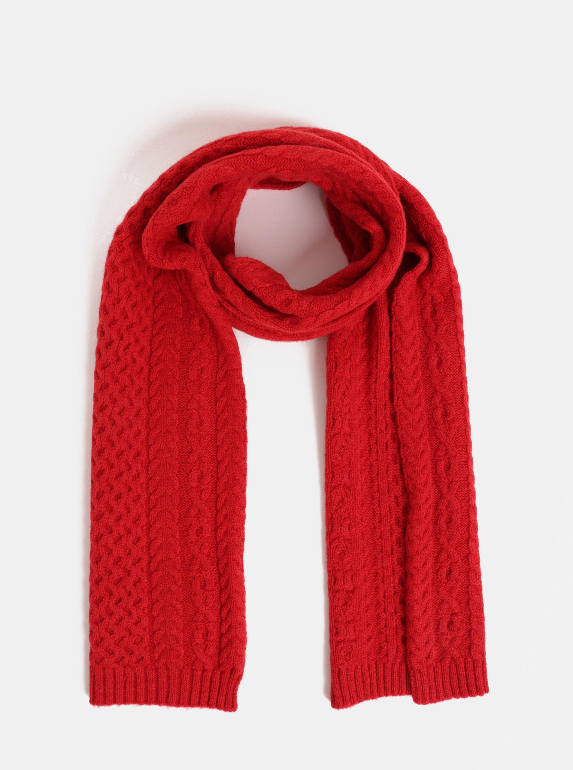 Červená dámská vlněná šála GANT Aran knit ... e1784d54a4