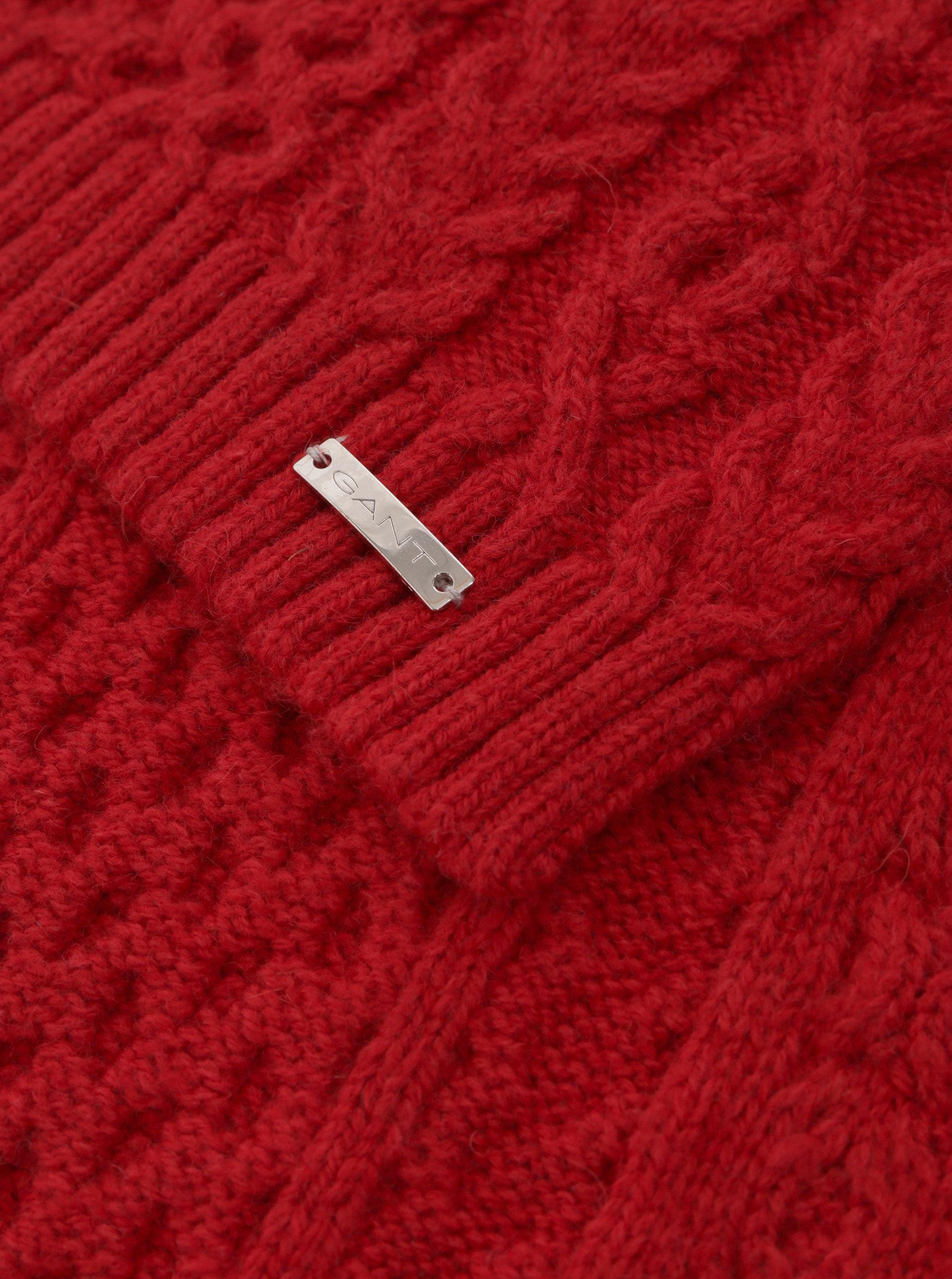 Červená dámská vlněná šála GANT Aran knit ... 6d75ecf527