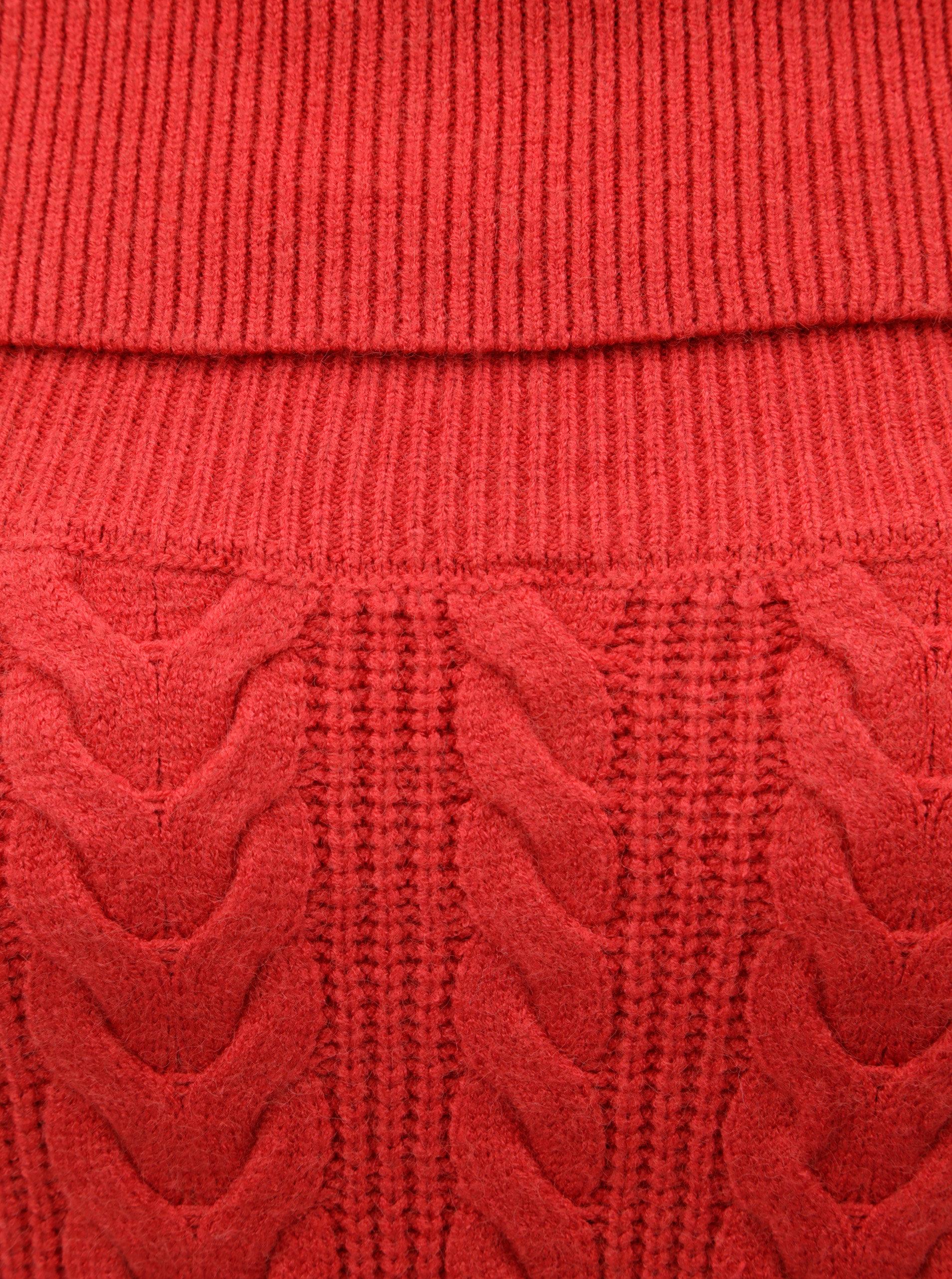 Červený svetr s plastickým vzorem VERO MODA Jina ... 81c654832a