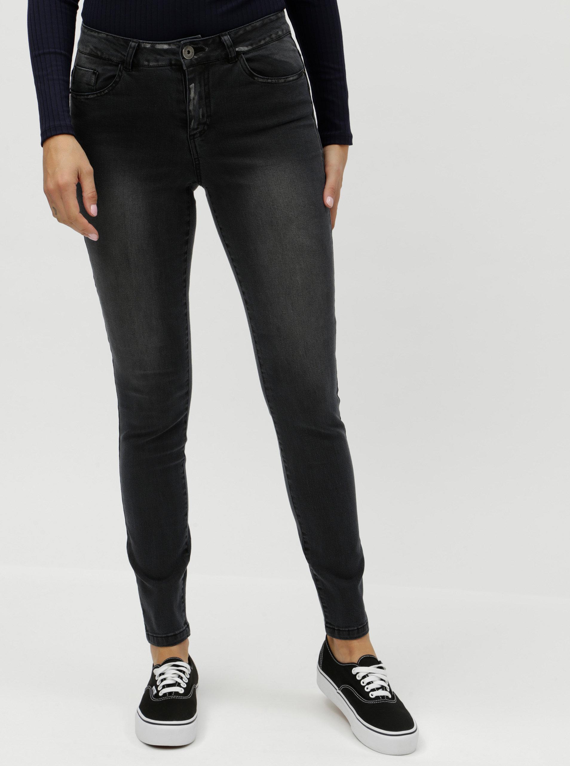 a5b90d3a8a80 Tmavě šedé slim džíny s vyšisovaným efektem Yest ...