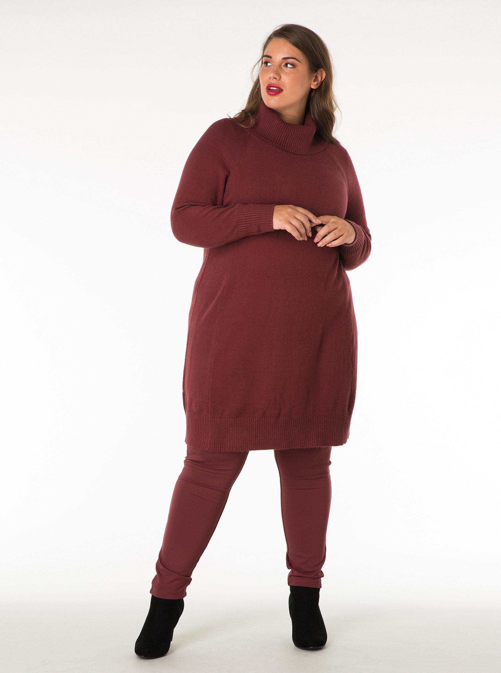 Vínové svetrové šaty s rolákem Yest ... cfd467e8cbe