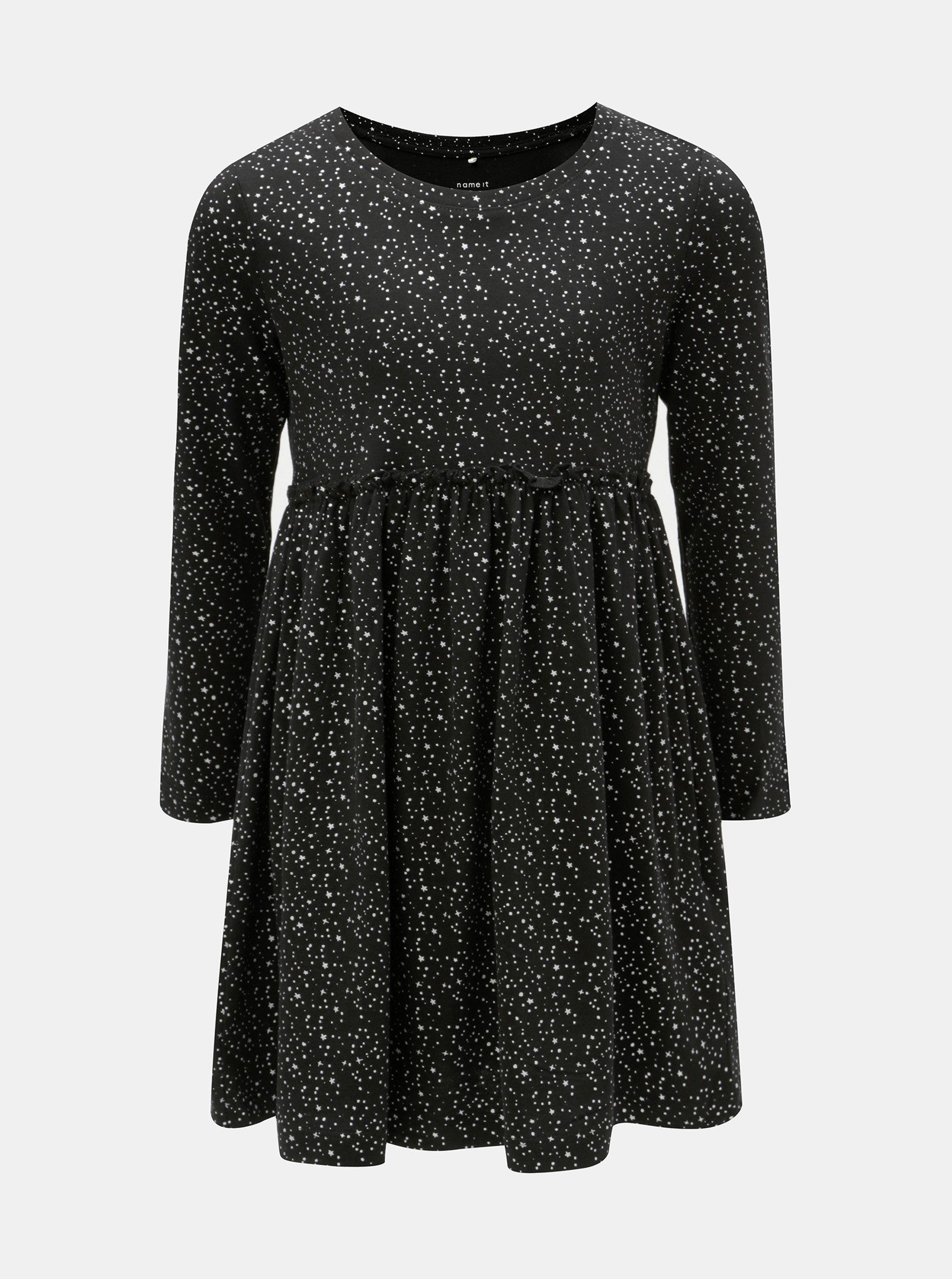Čierne vzorované šaty s dlhým rukávom Name it Rima ... b12ace159e6