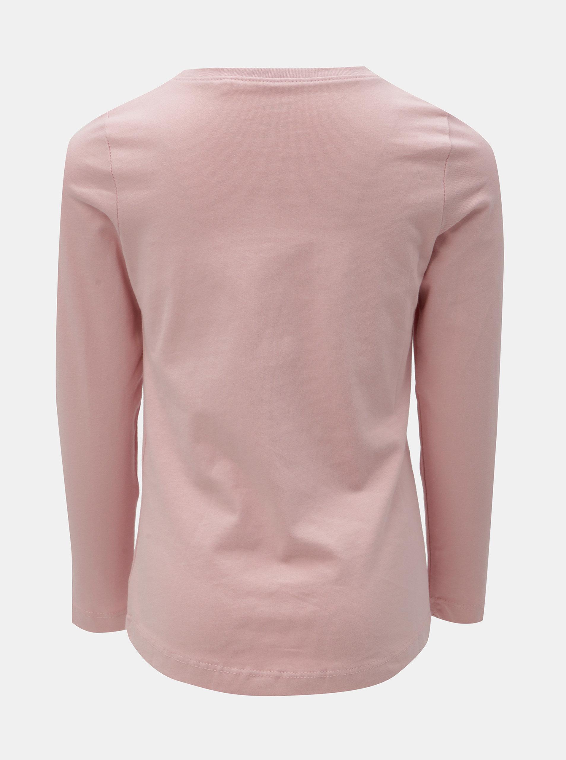 9e43f01f2cab Ružové dievčenské tričko s potlačou a dlhým rukávom Name it Veen ...
