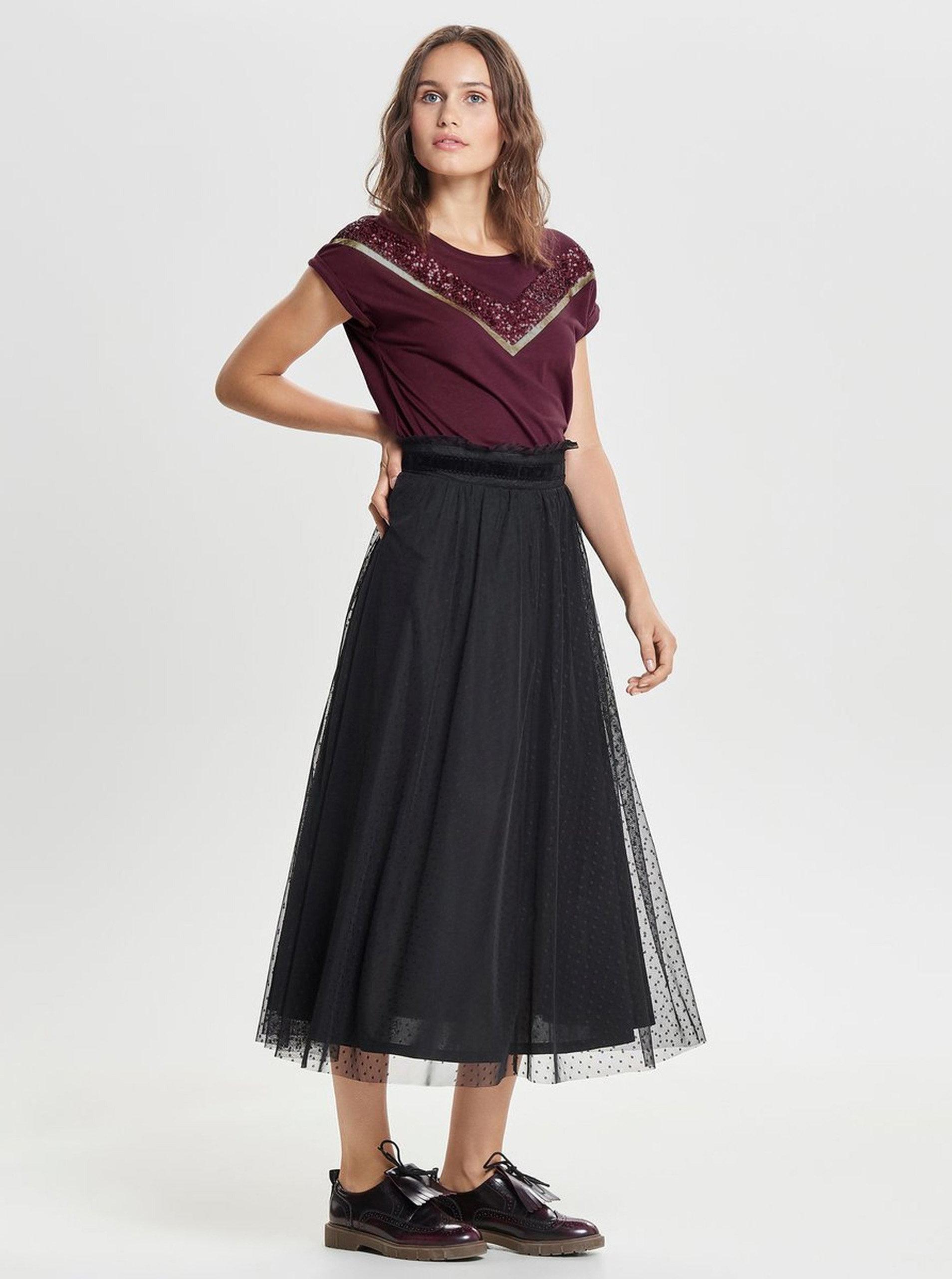 07d7505f47 Černá puntíkovaná tylová midi sukně ONLY Rose ...