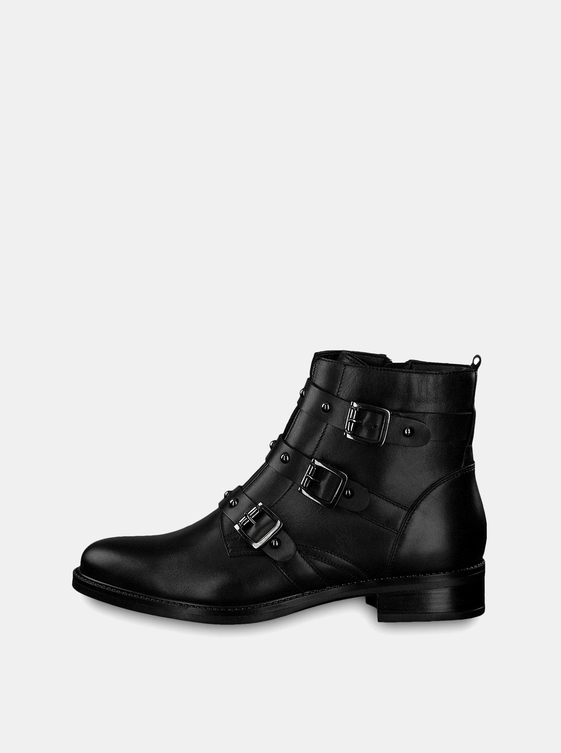 Čierne kožené členkové topánky s prackami Tamaris ... 475e382c2c3