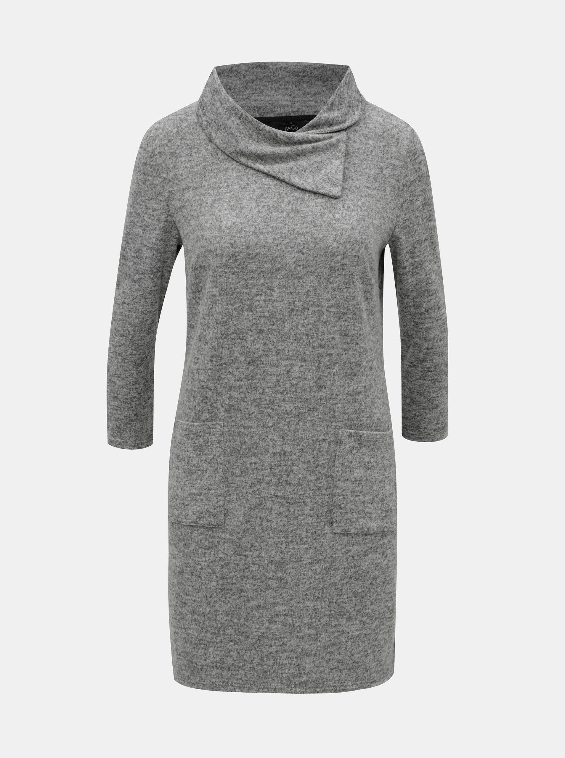 Šedé žíhané svetrové šaty s rolákem a 3 4 rukávem M Co ... 7b238423bc2