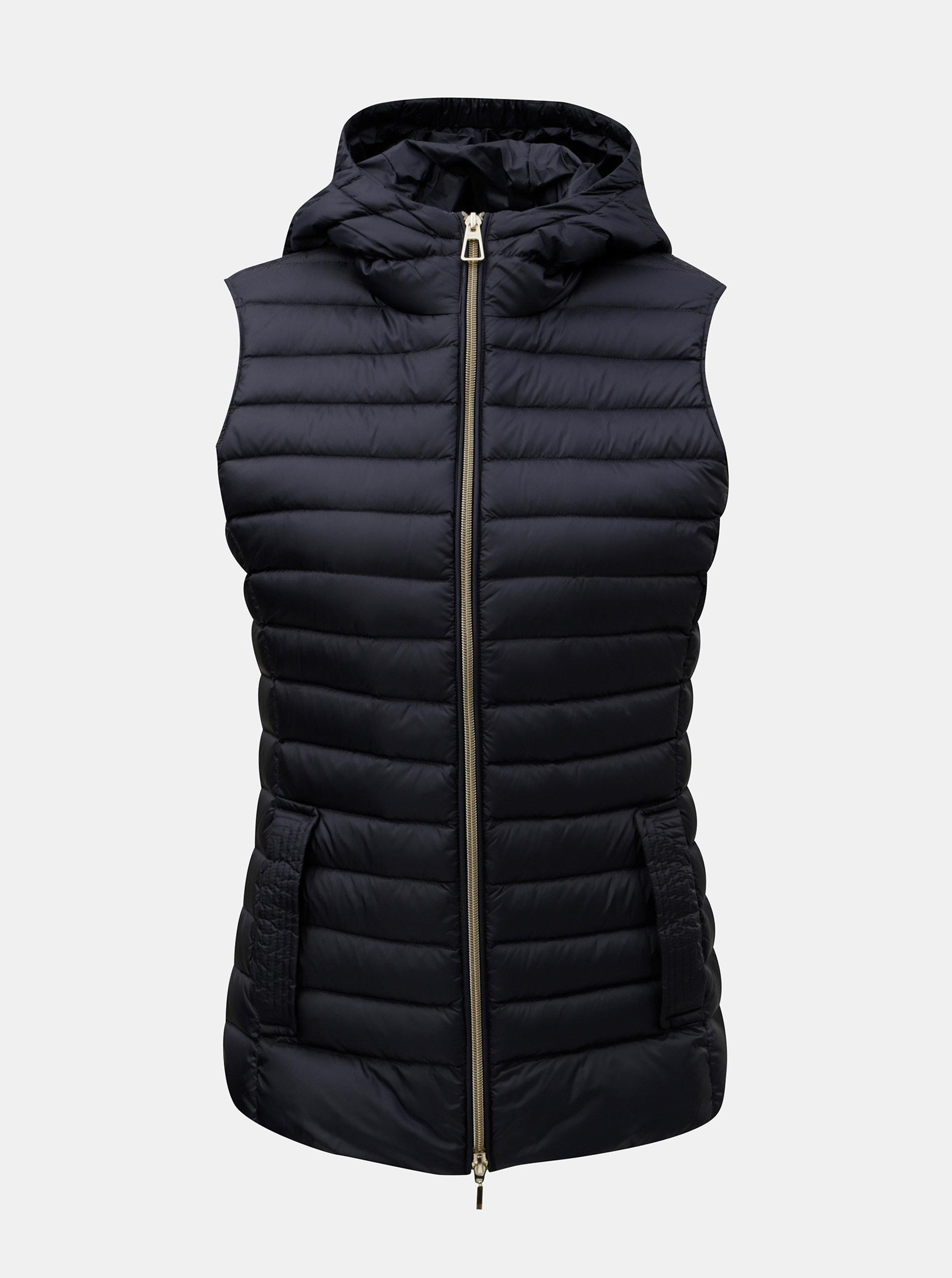 1daa9a2ce Tmavomodrá dámska prešívaná tenká páperová vesta s kapucňou Geox ...