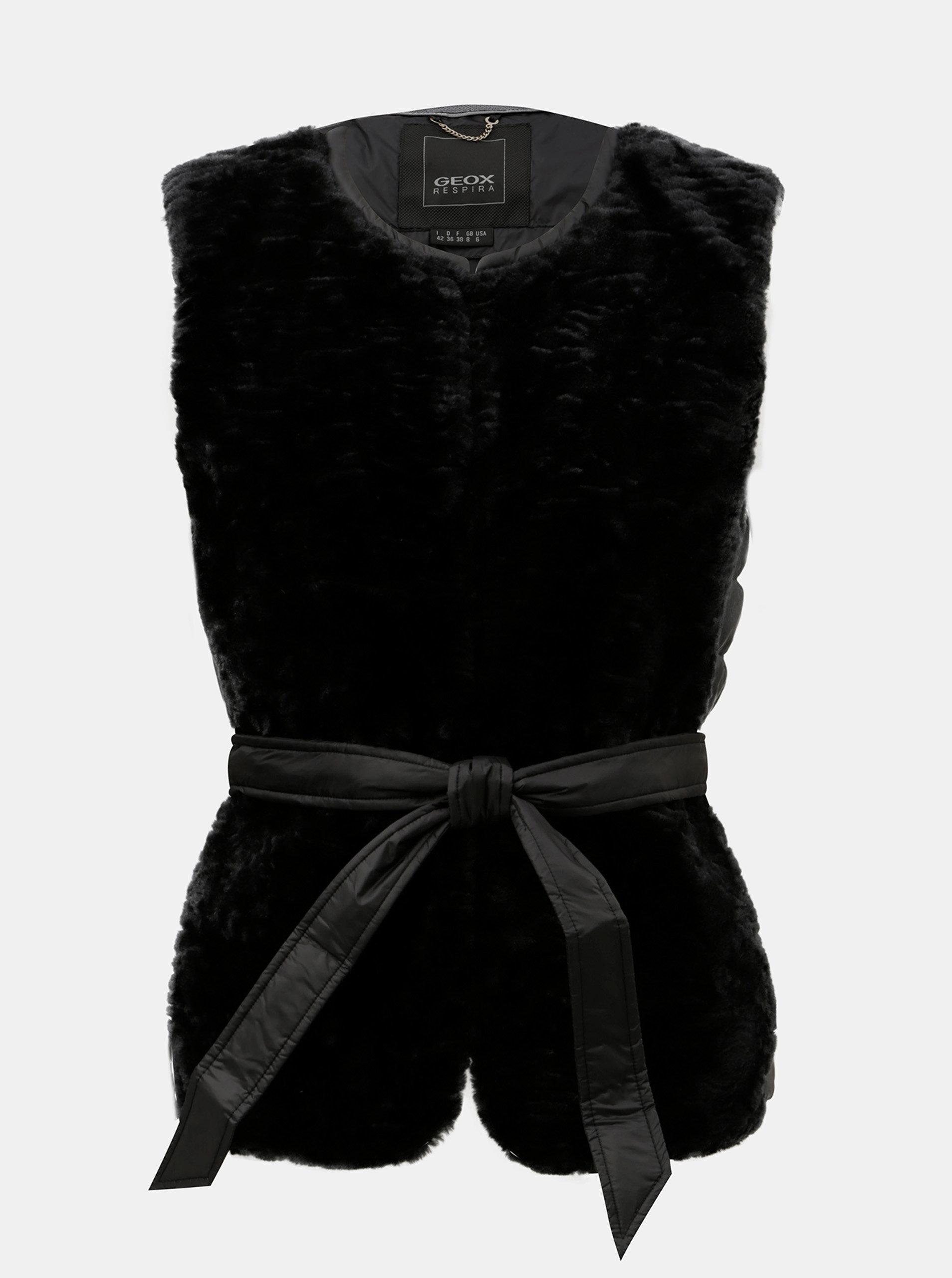 Čierna dámska prešívaná tenká páperová vesta s umelou kožušinkou Geox ... 75d648855aa