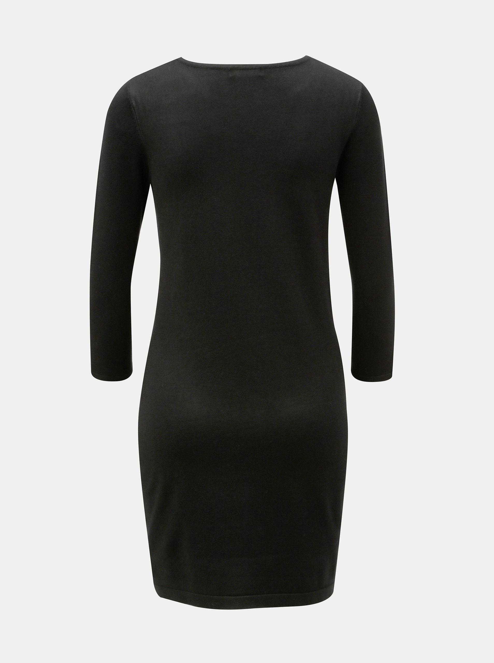 2ae5a8c77ff5 Černé svetrové šaty s výšivkou M Co ...