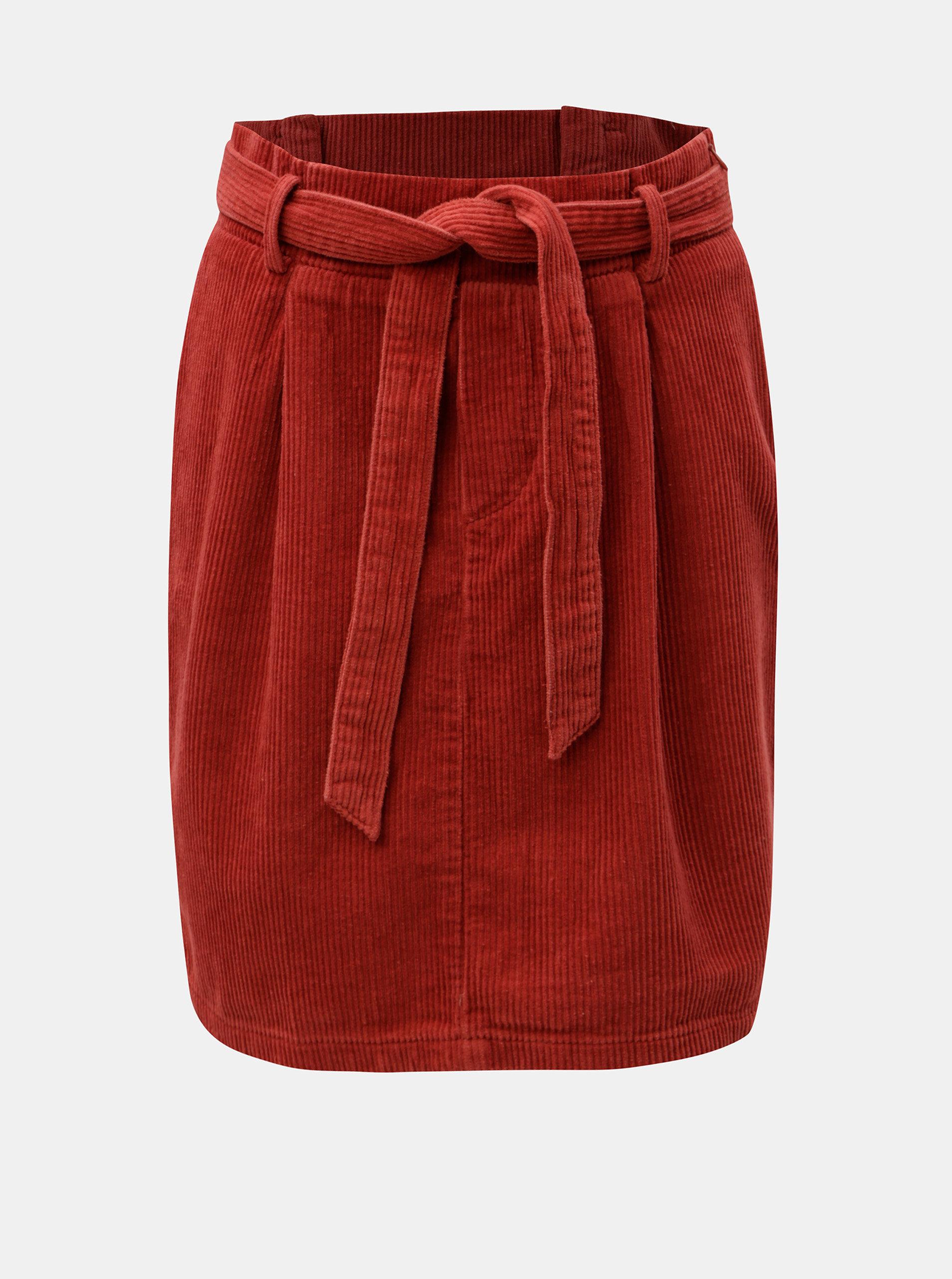 Červená manšestrová sukně s mašlí ONLY Cord