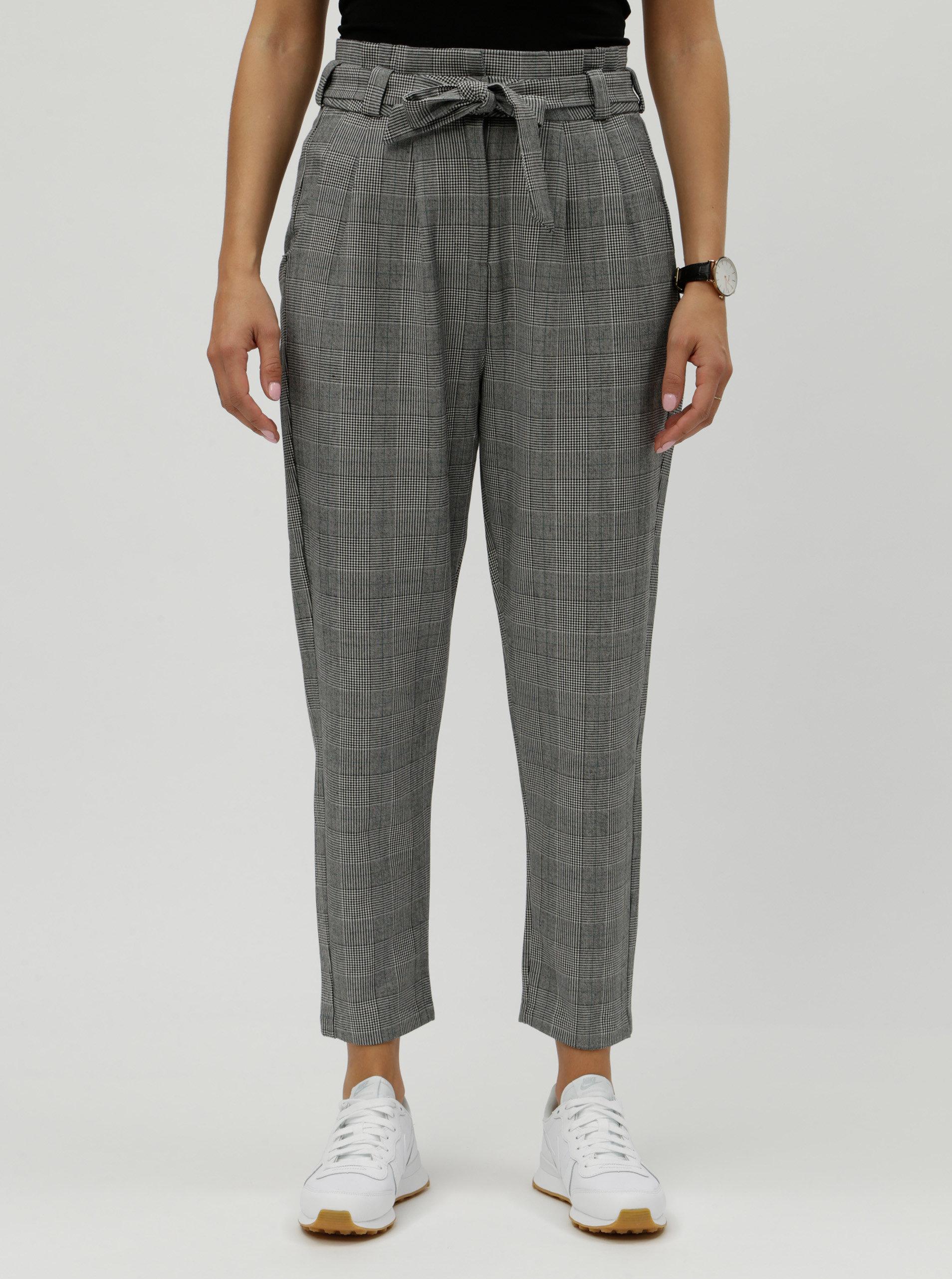 Šedé kostkované zkrácené kalhoty s vysokým pasem VERO MODA ... f0fbfea265