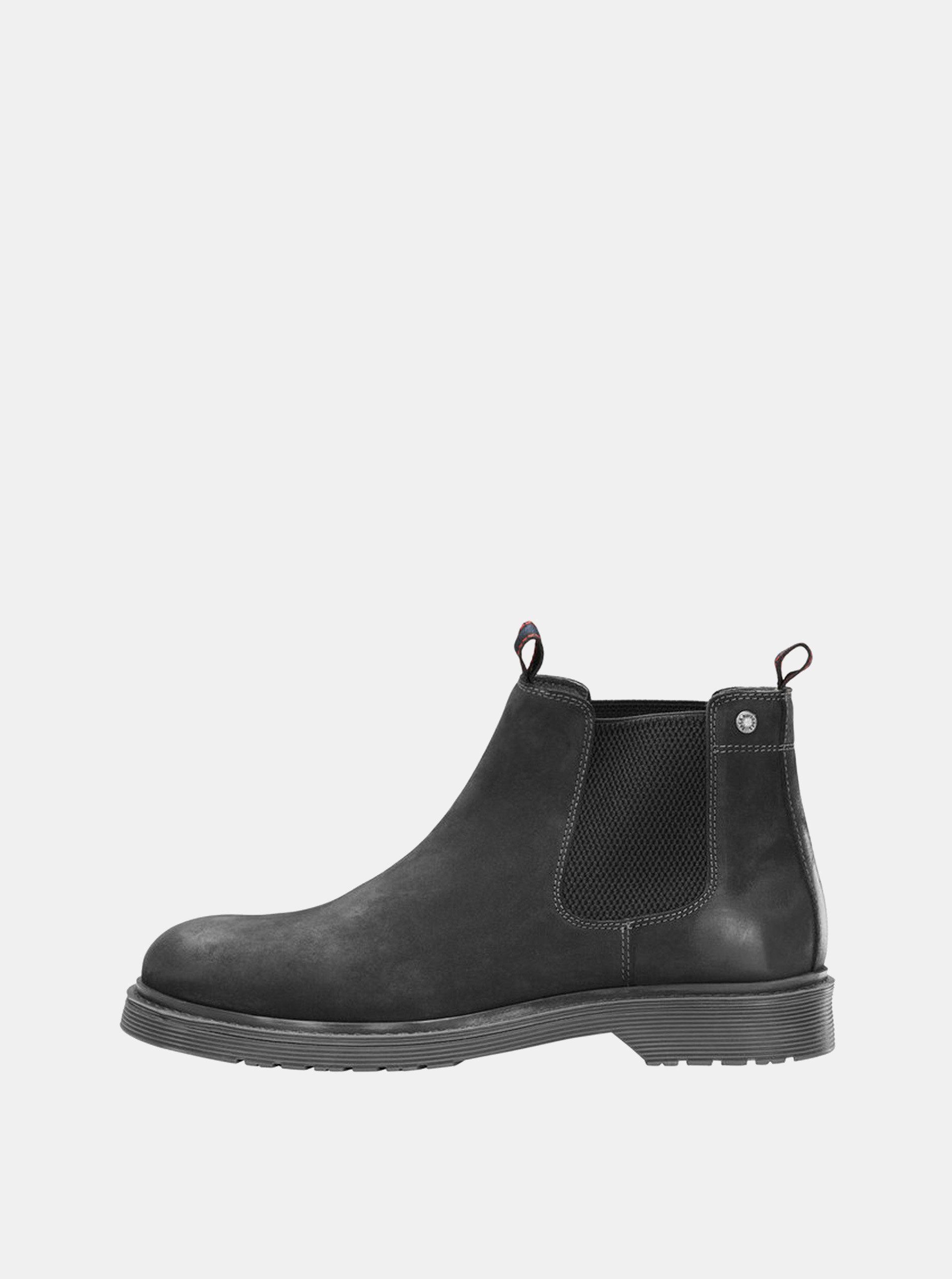 d5e03b6169d Černé pánské kožené chelsea boty Jack   Jones Leyton ...