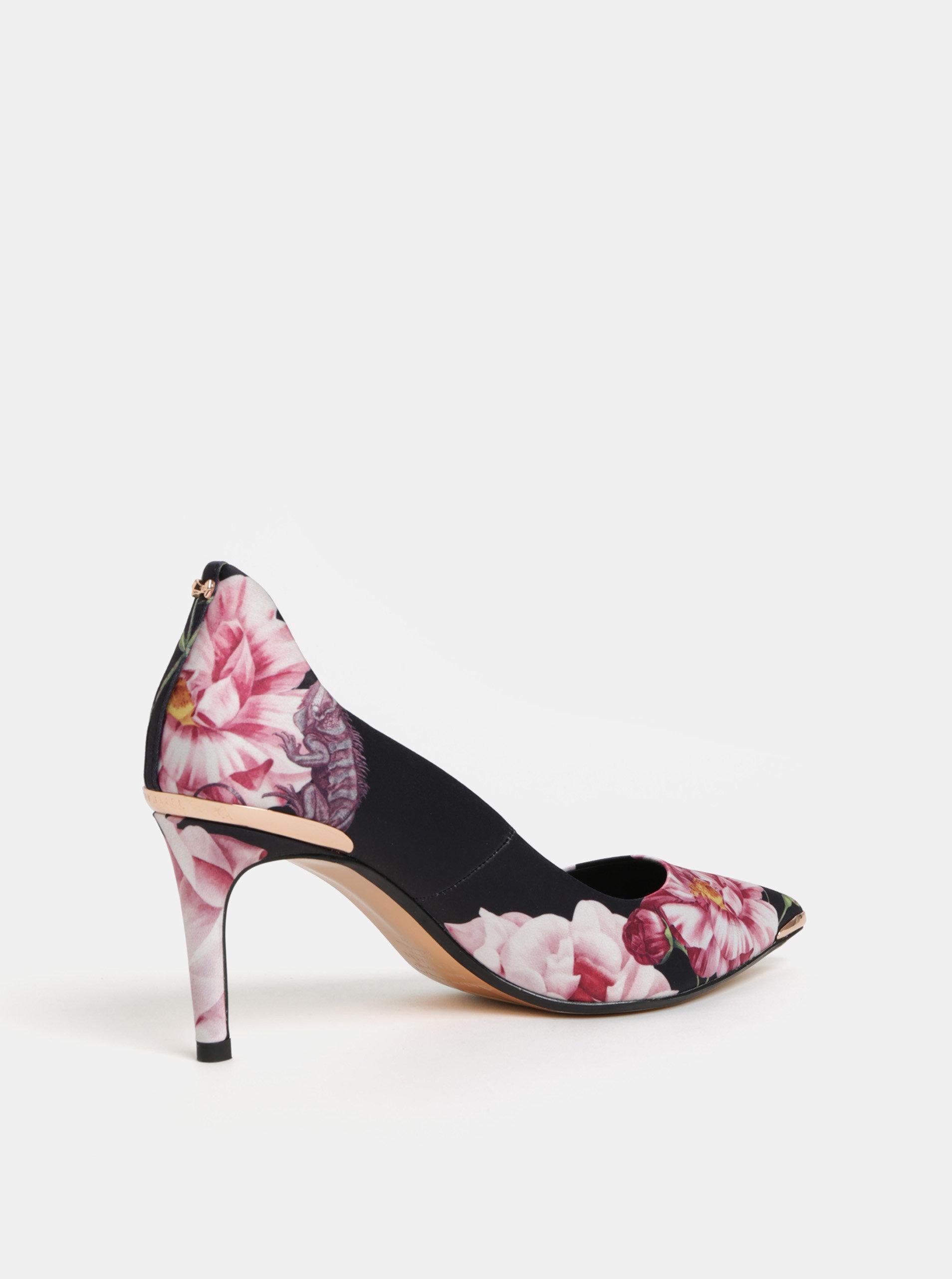 Růžovo-černé květované lodičky Ted Baker ... 0f7054e60f