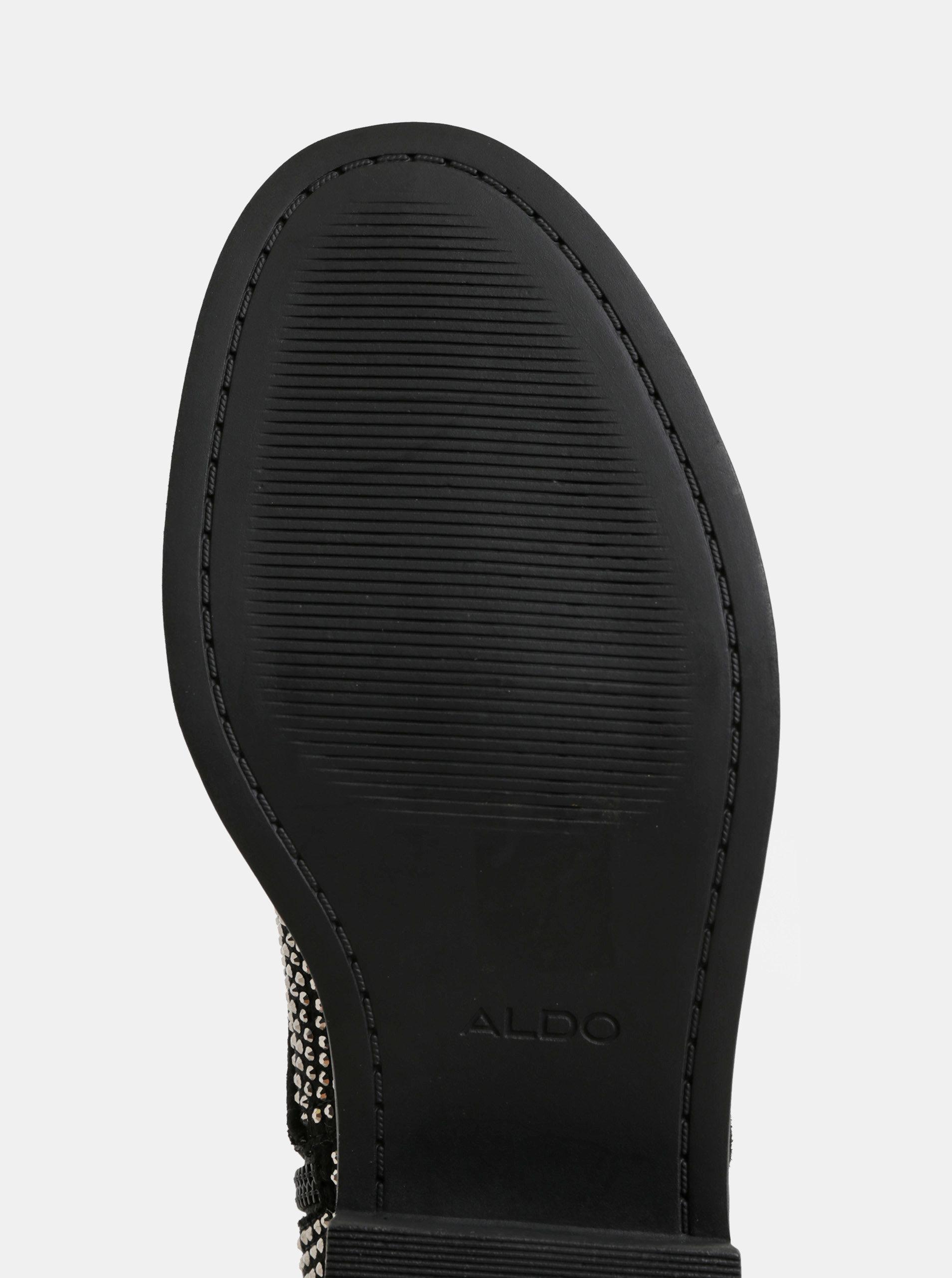 50902919962b6 Čierne dámske členkové topánky s trblietavou aplikáciou ALDO Galolila ...