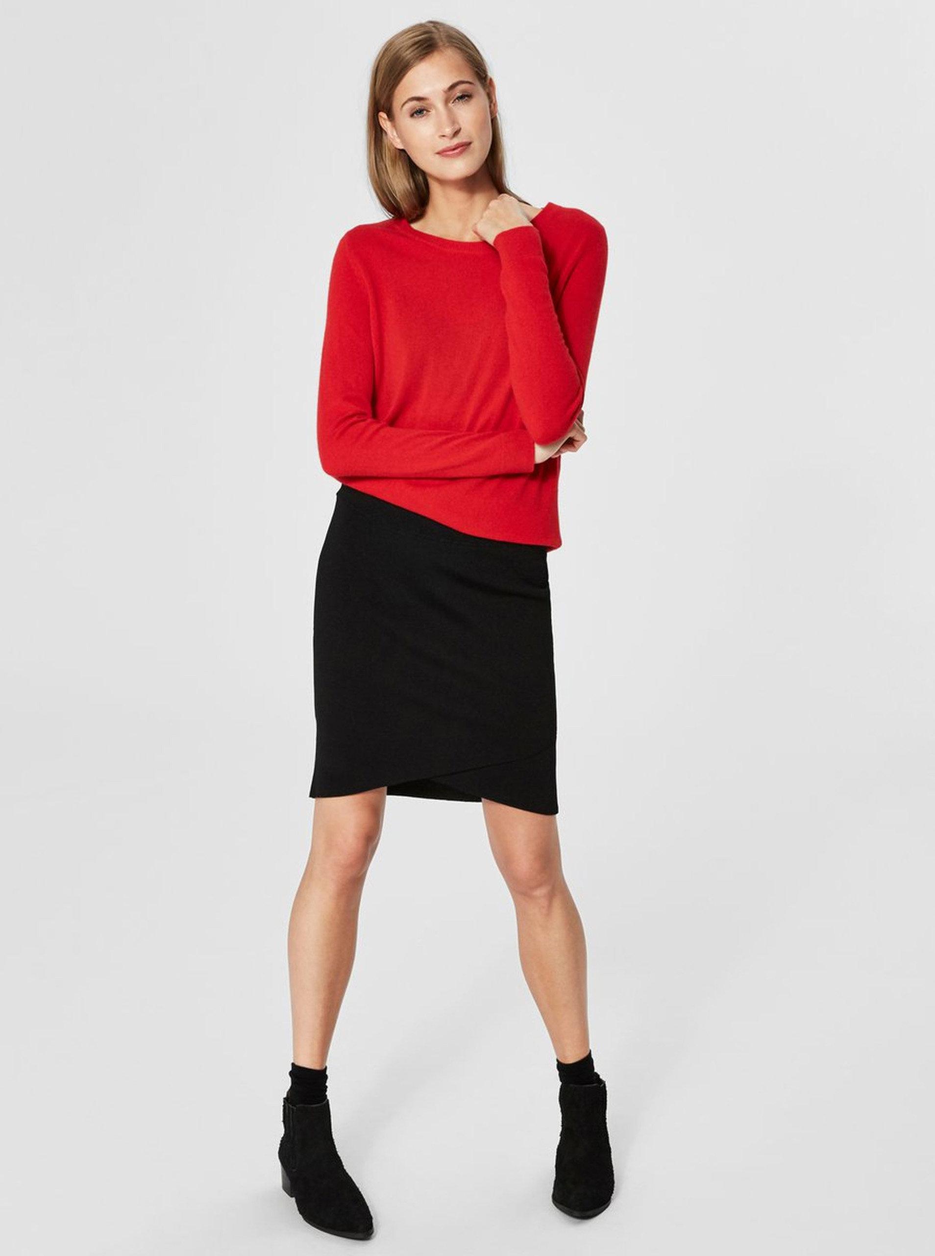 37c60837e71b Červený tenký kašmírový sveter Selected Femme Faya ...