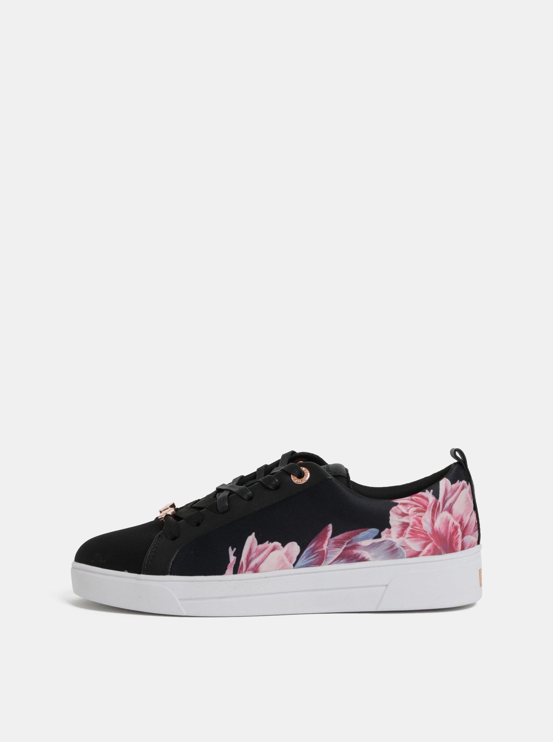 Ružovo–čierne dámske kvetované tenisky Ted Baker ... 35983a39b69
