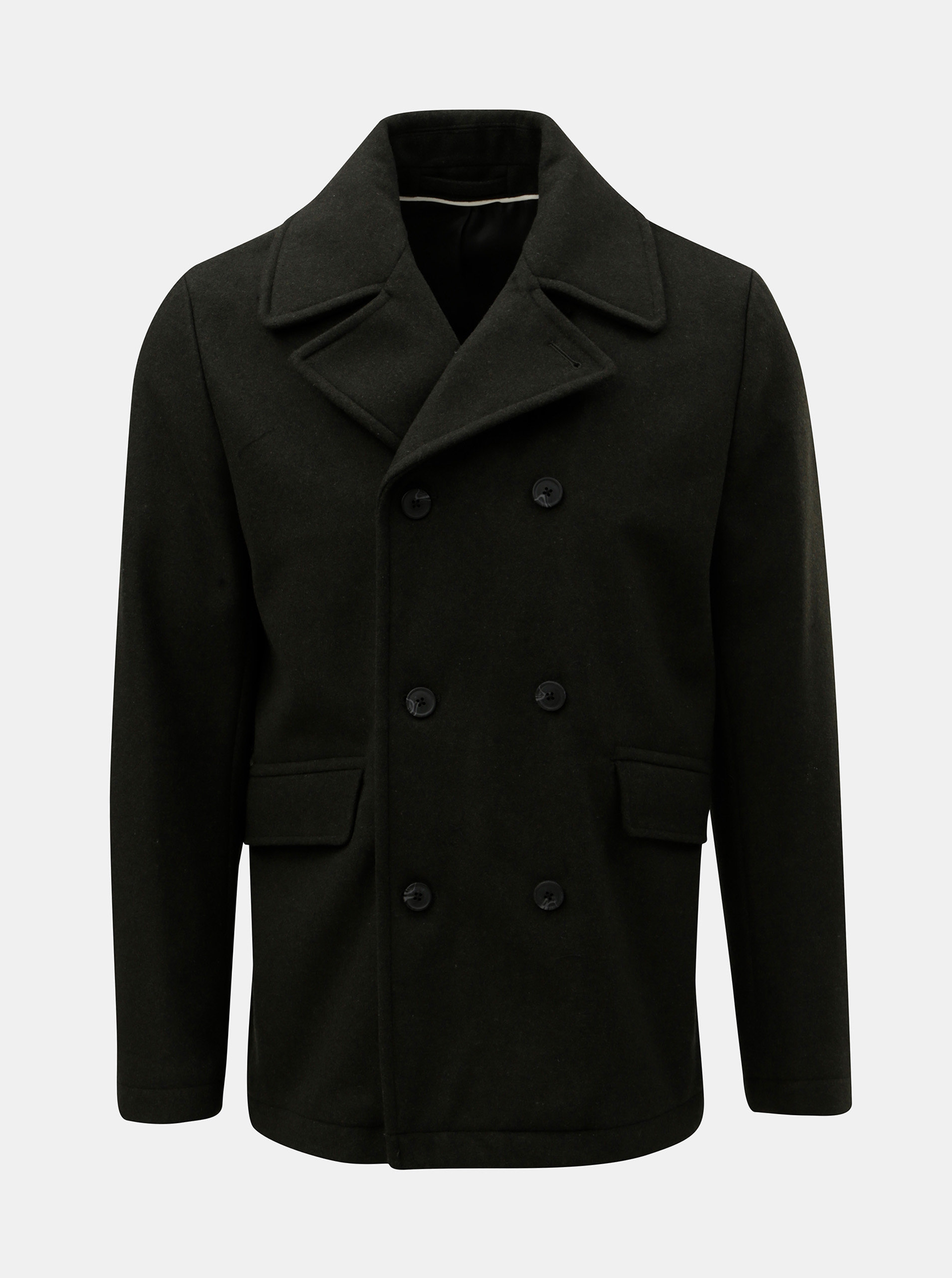Zelený vlnený kabát Selected Homme New ... a205fa8d53c