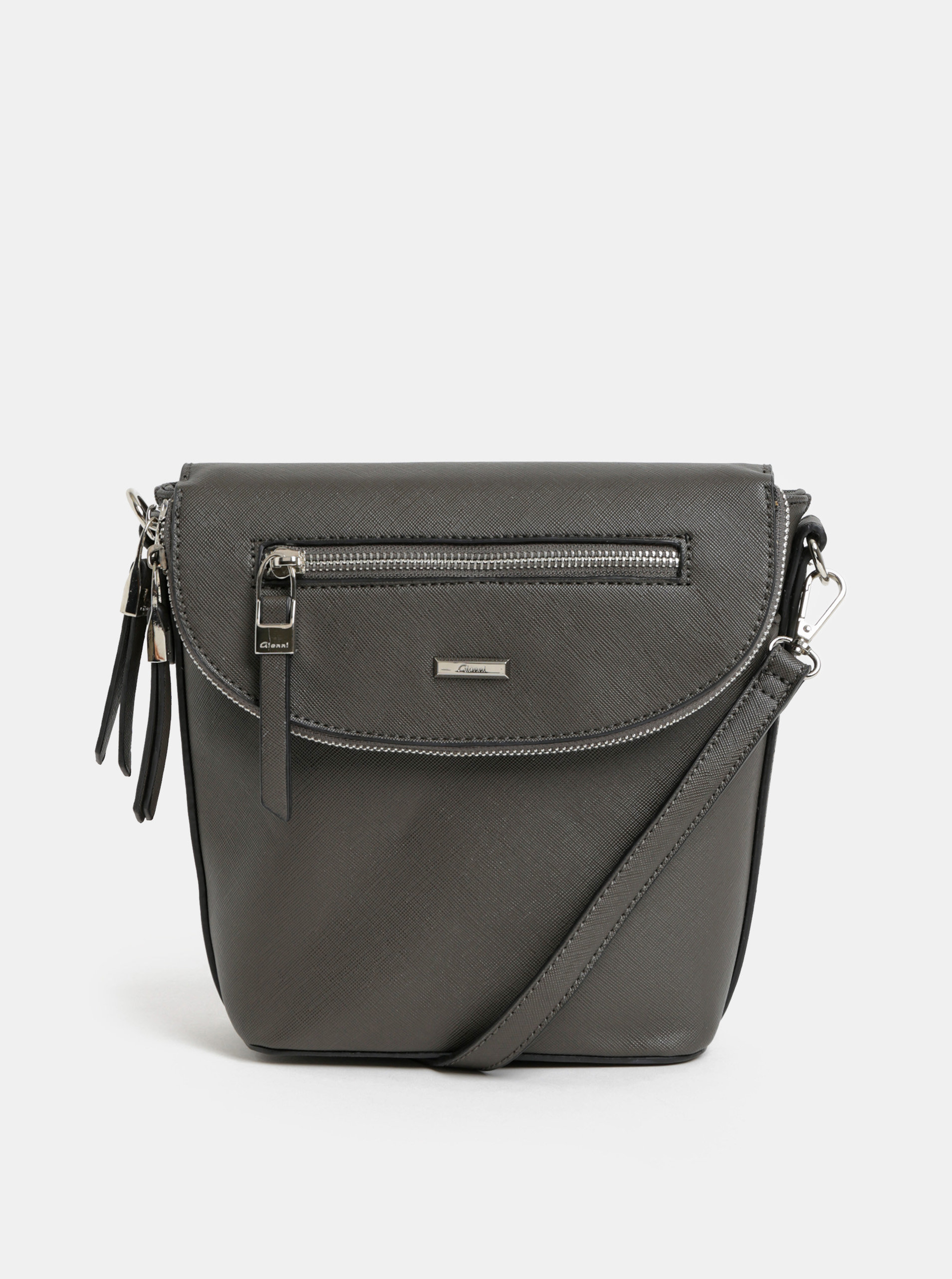 Tmavě šedá kabelka batoh s detaily ve stříbrné barvě Gionni Iris ... 3fb64ba429b