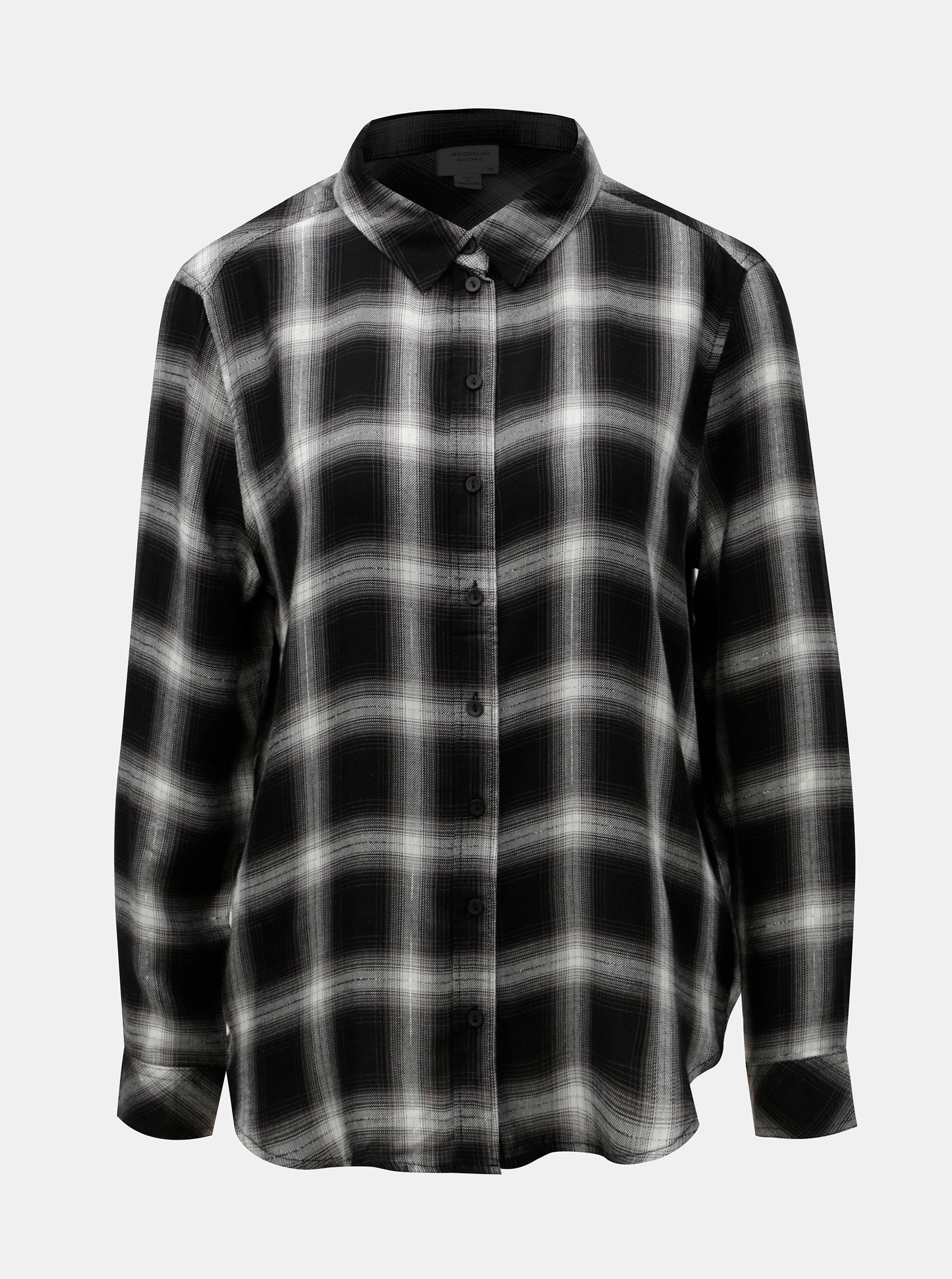 Bílo-černá kostkovaná košile s metalickým vláknem Jacqueline de Yong Frans  ... 1ff188b7f8