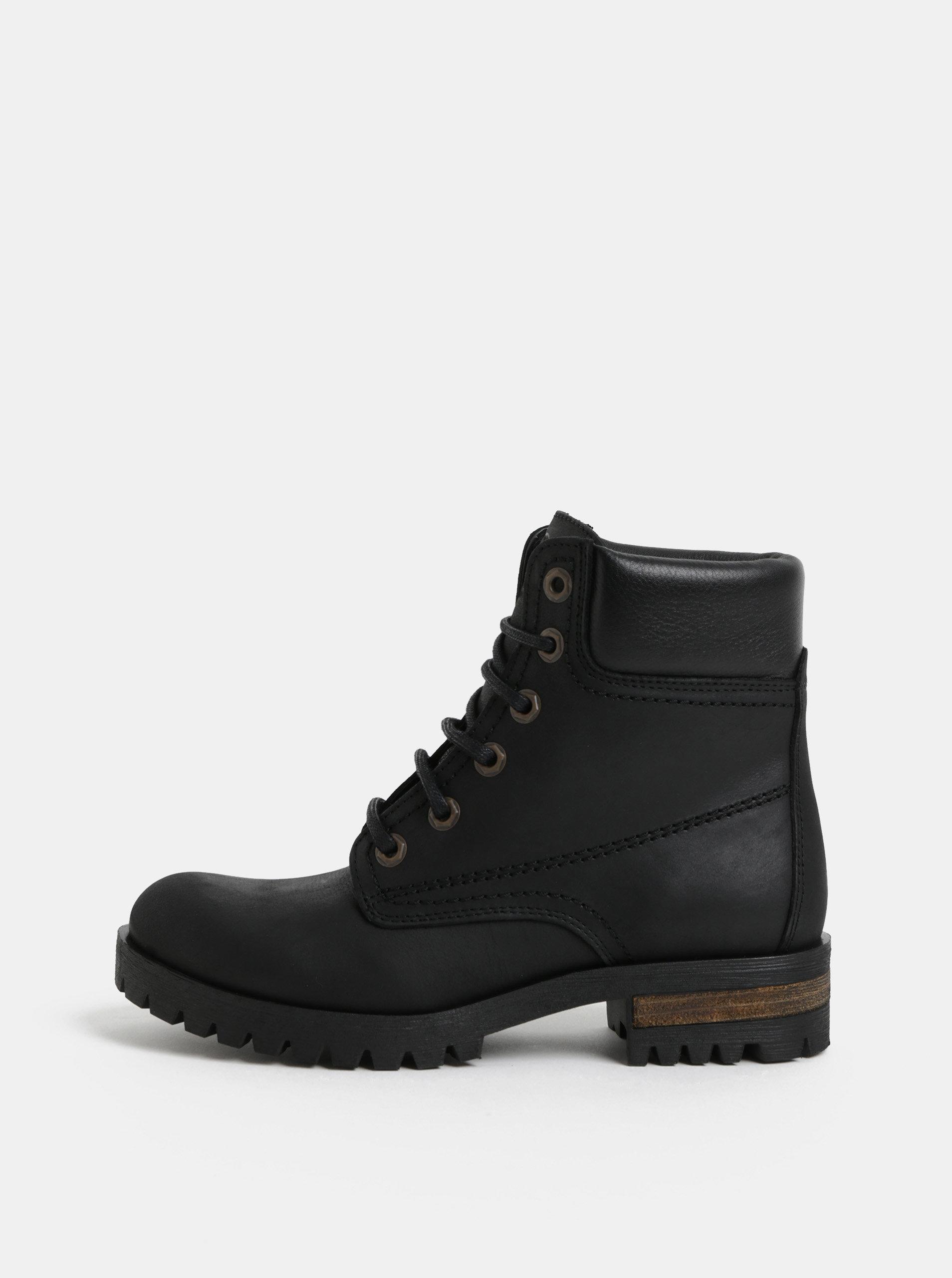 850965614c00 Čierne kožené členkové topánky OJJU ...