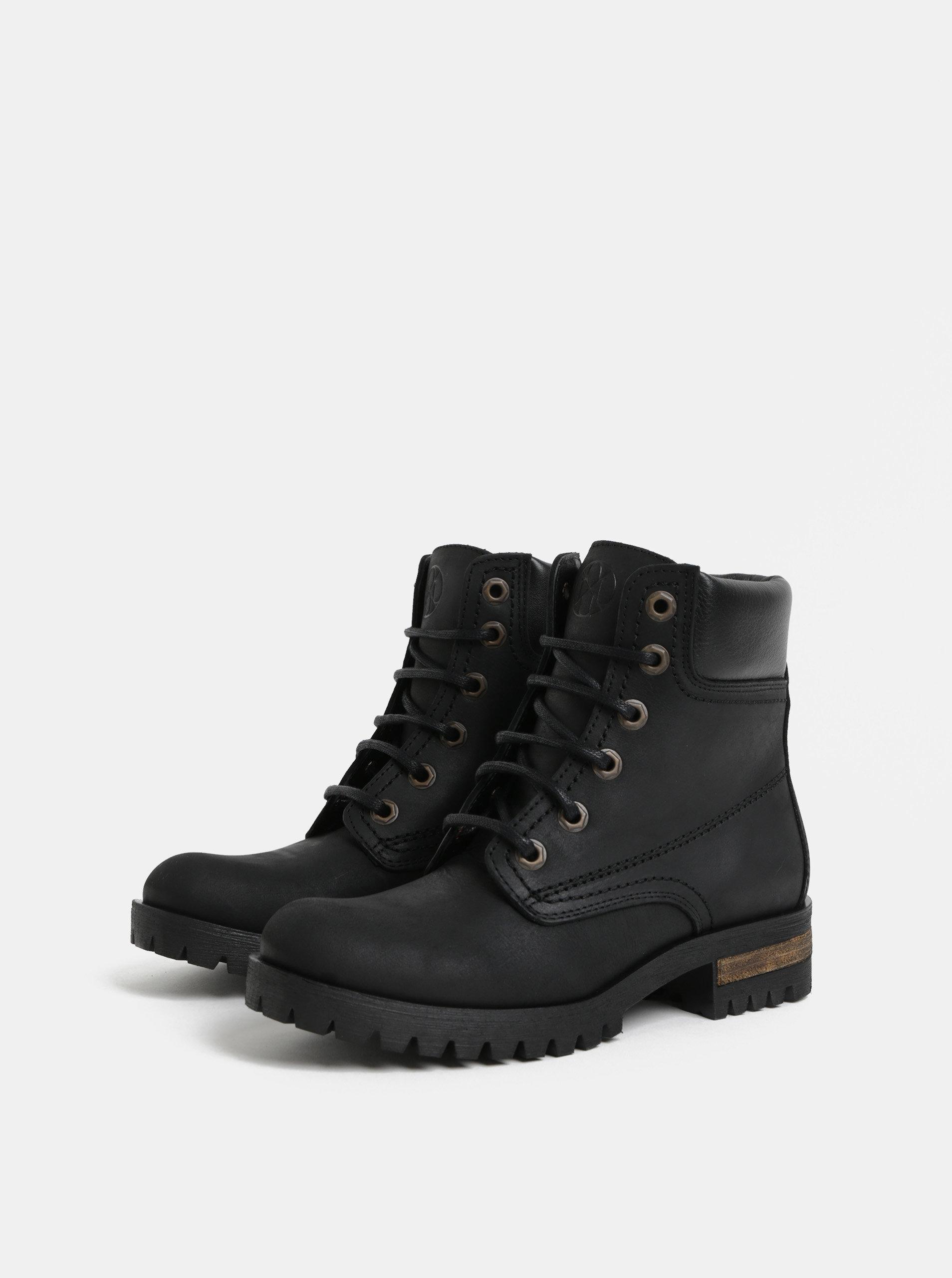 7d1b3cc115c Černé kožené kotníkové boty OJJU ...