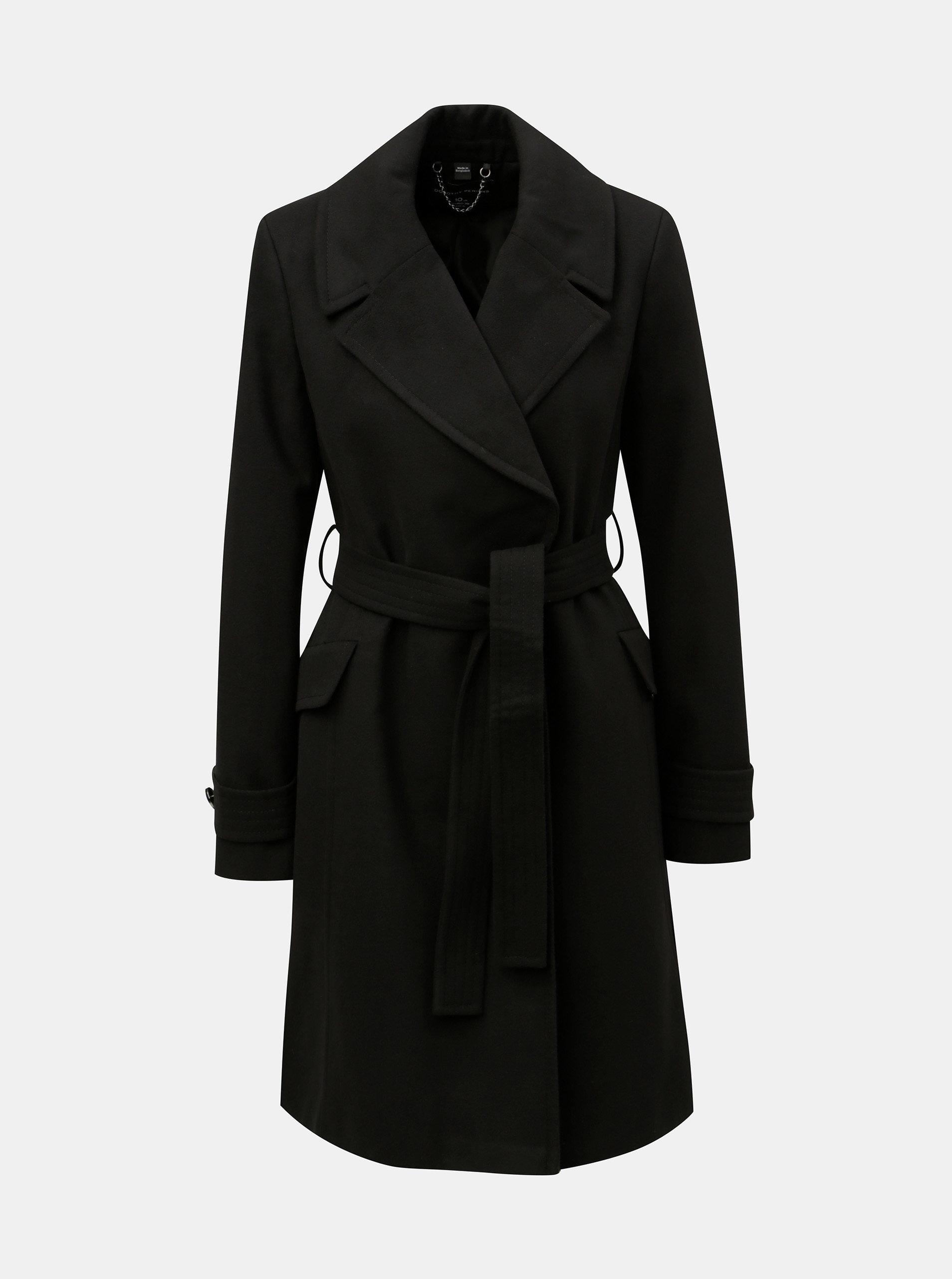 Čierny tenký kabát s opaskom Dorothy Perkins ... a1e3f5798e4