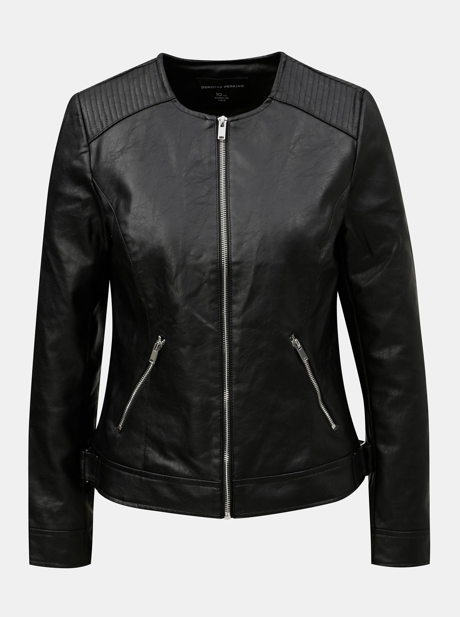 8f02625617ca Čierna koženková bunda Dorothy Perkins ...