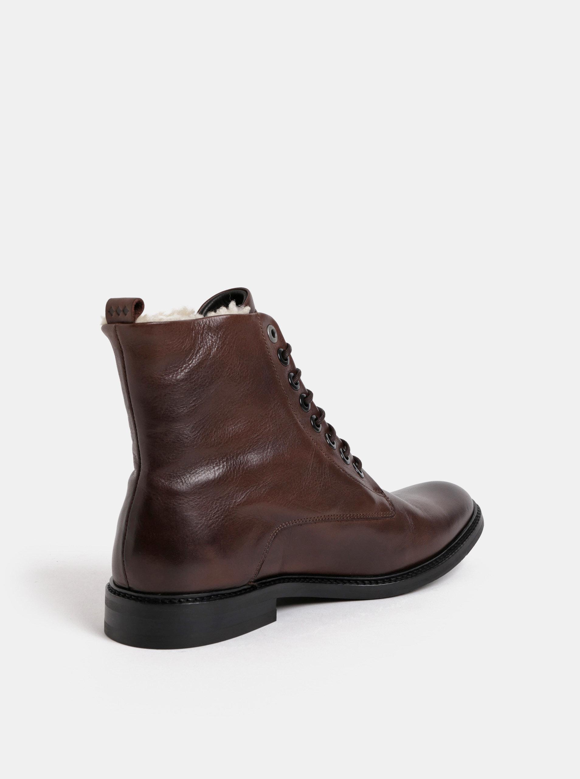 8af421b8191e3 Tmavohnedé pánske kožené členkové zimné topánky Royal RepubliQ ...