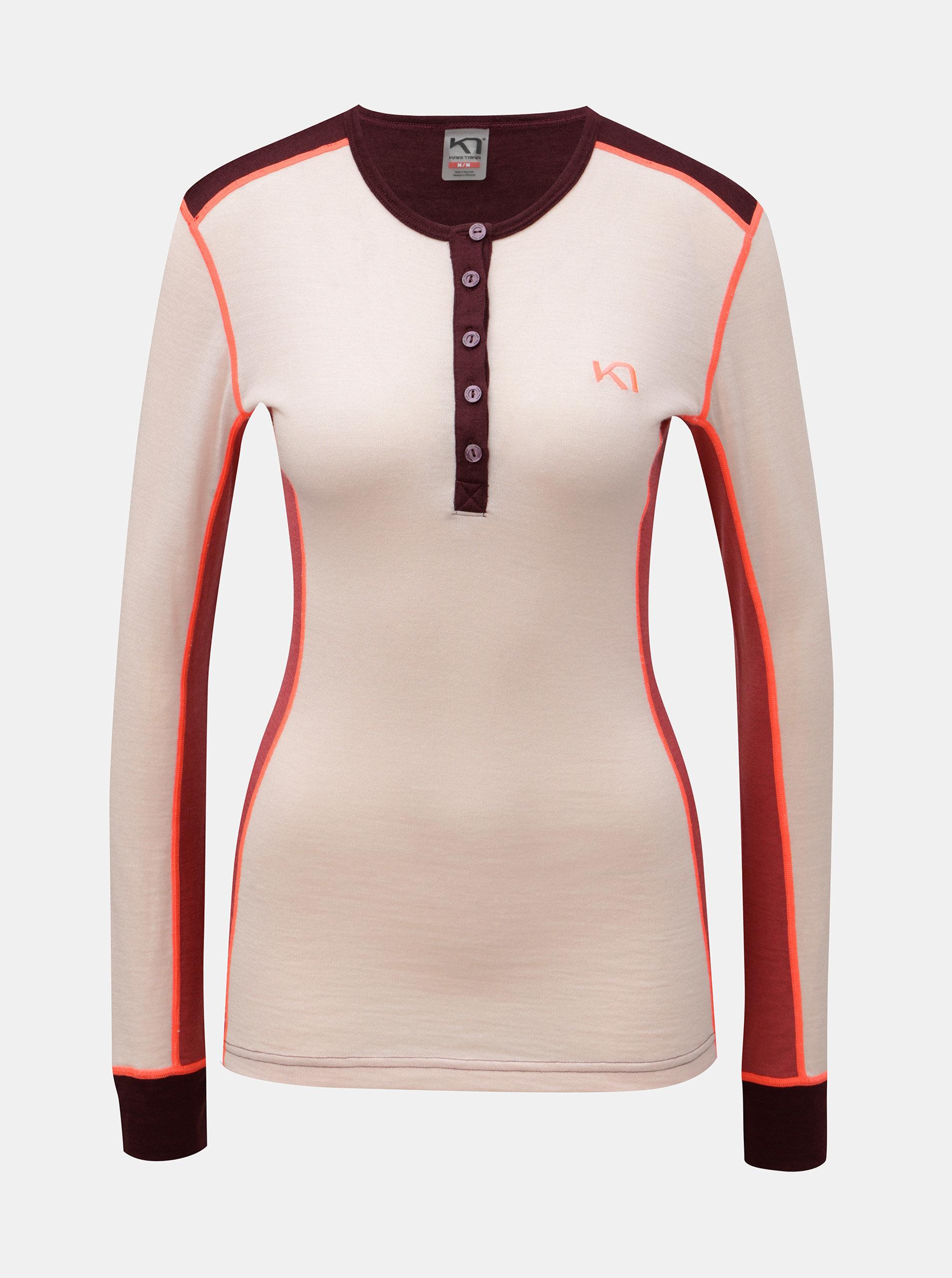 1b4248116d9f Vínovo–ružové termo tričko s dlhým rukávom z merino vlny Kari Traa Flette  ...