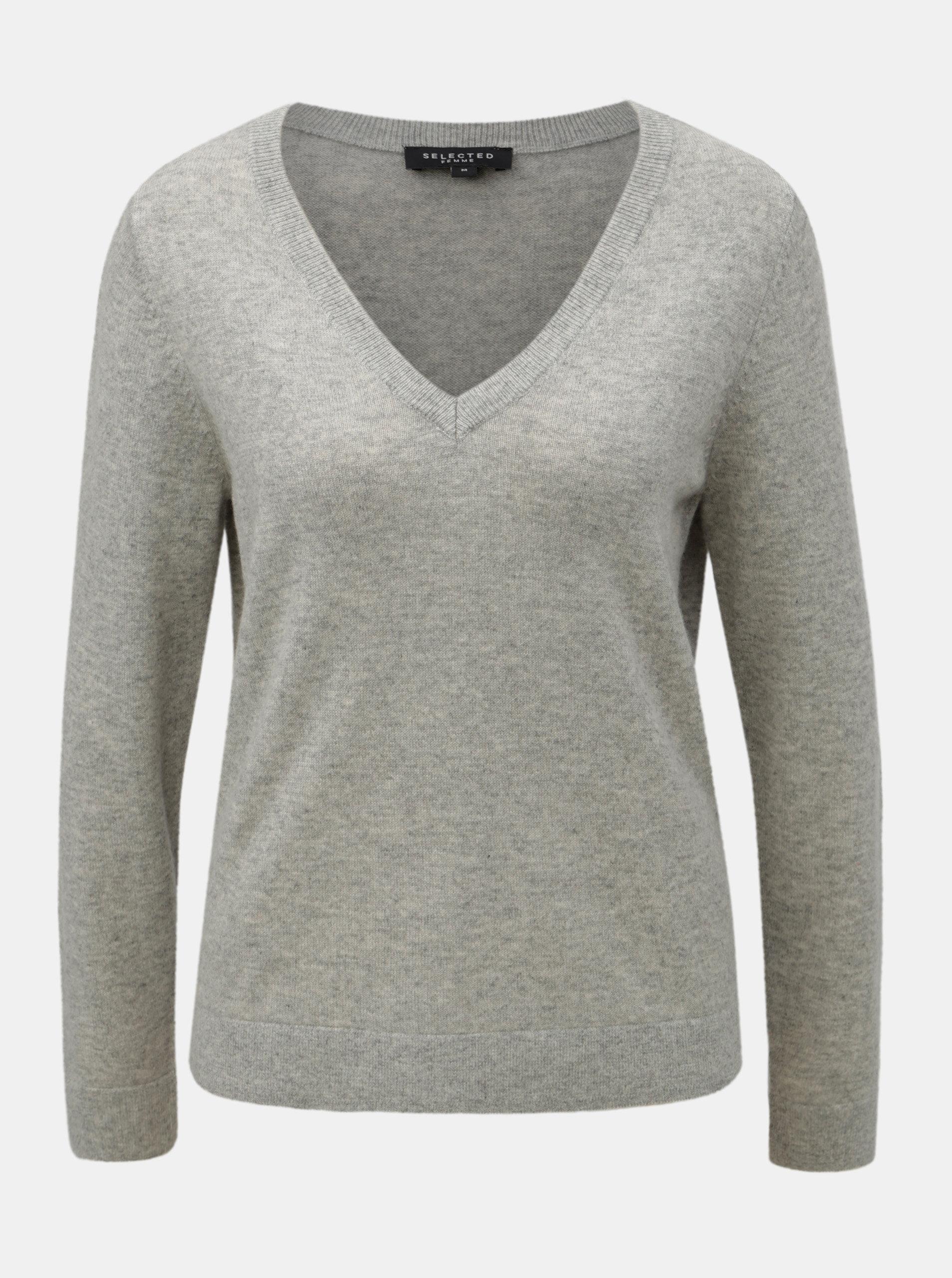 5a7e158fc324 Sivý melírovaný kašmírový sveter Selected Femme Faya ...