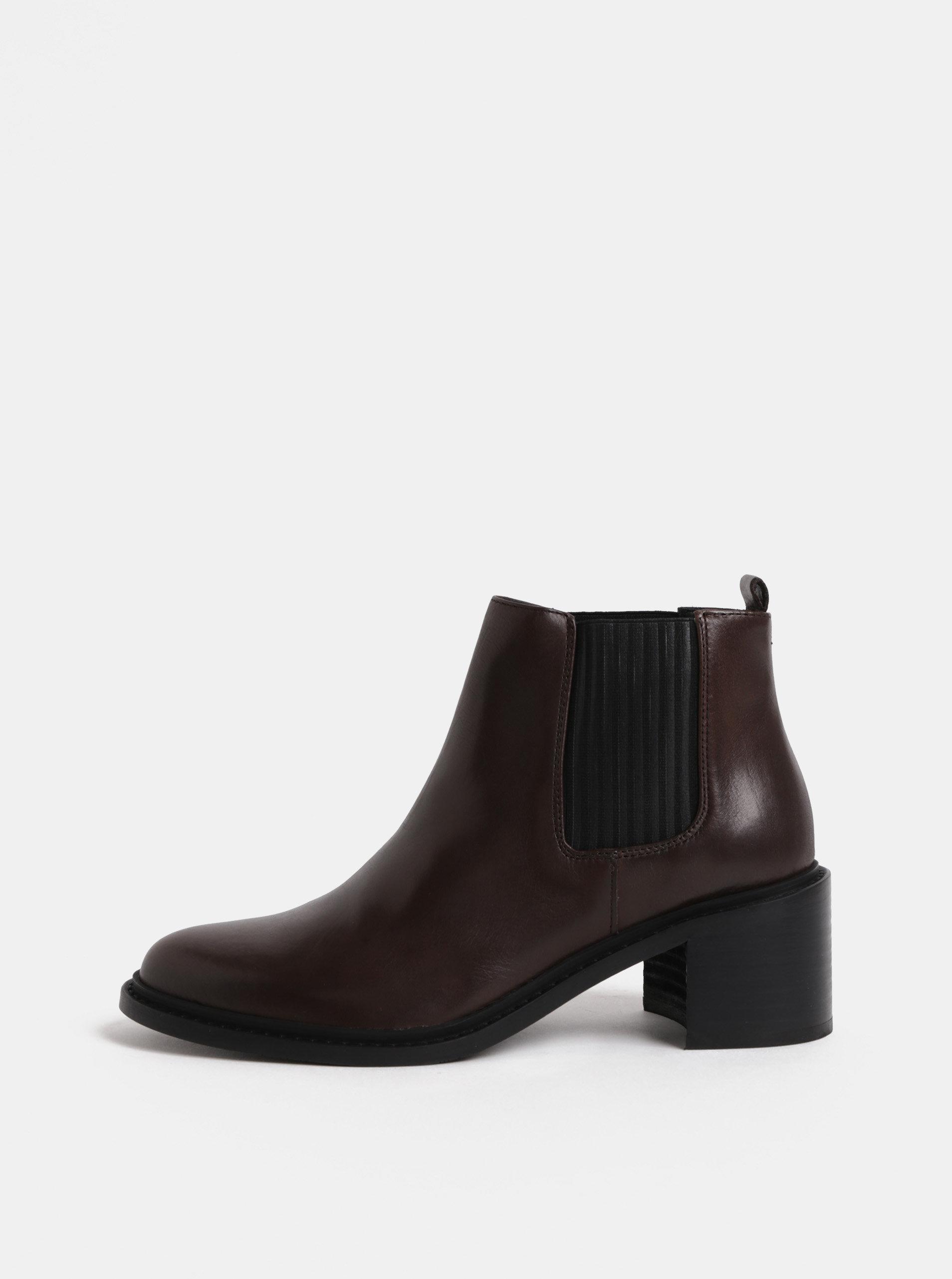 f2a02a61948 Tmavě hnědé dámské kožené chelsea boty na podpatku Royal RepubliQ ...