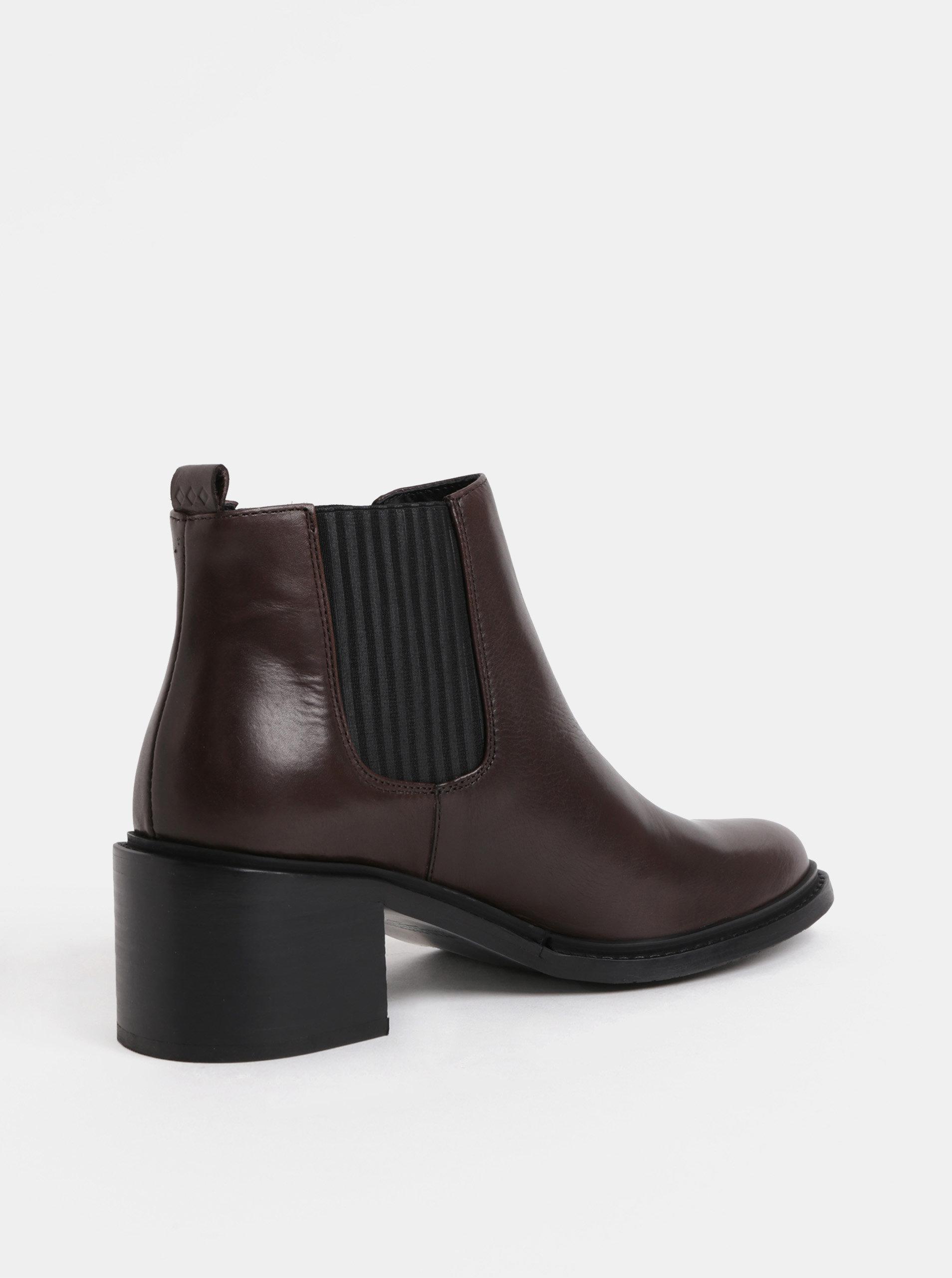 ca12fbc7c Tmavohnedé dámske kožené chelsea topánky na podpätku Royal RepubliQ ...
