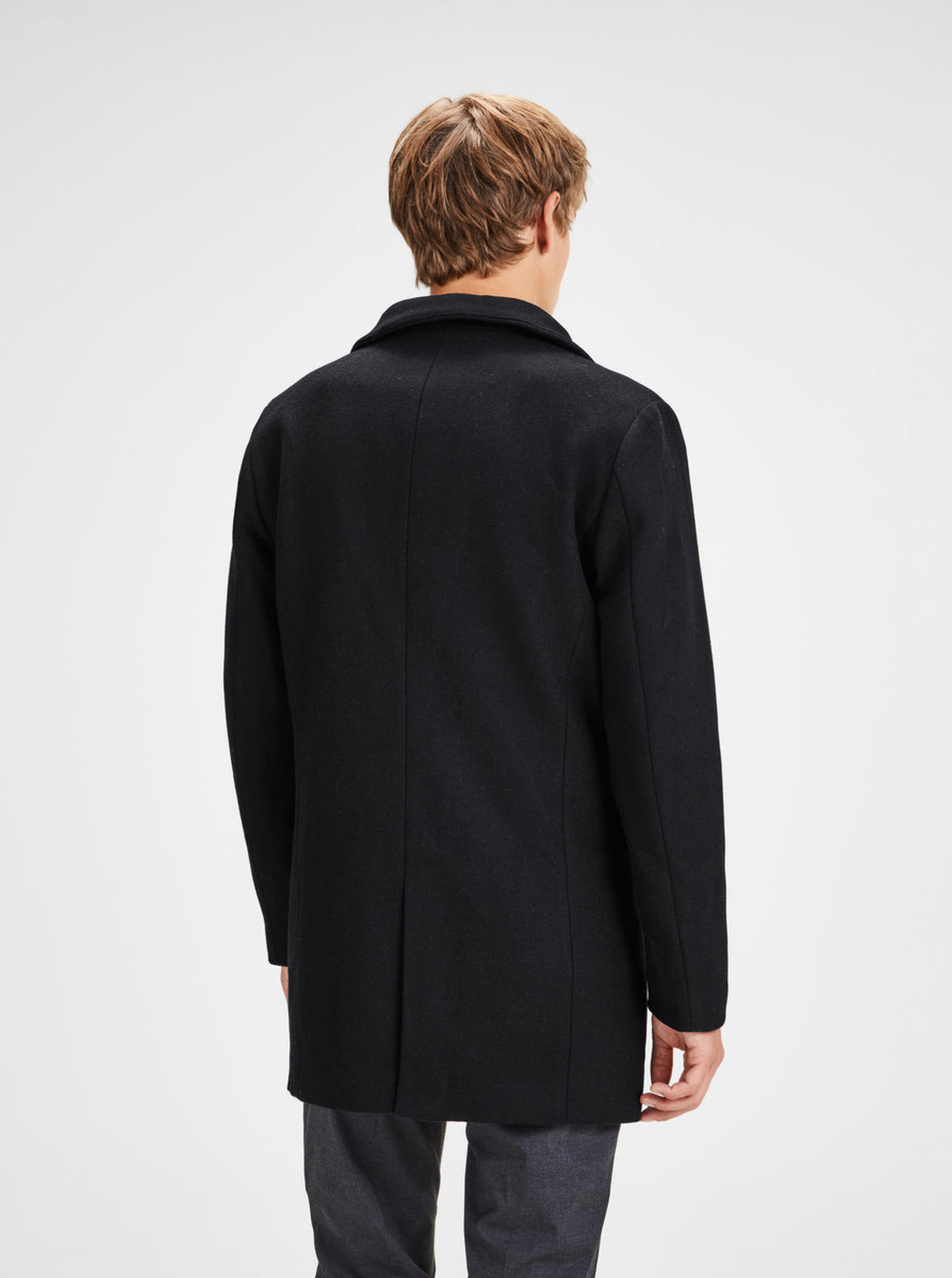 5dcb38d69a Čierny vlnený kabát Jack   Jones Newgotham ...