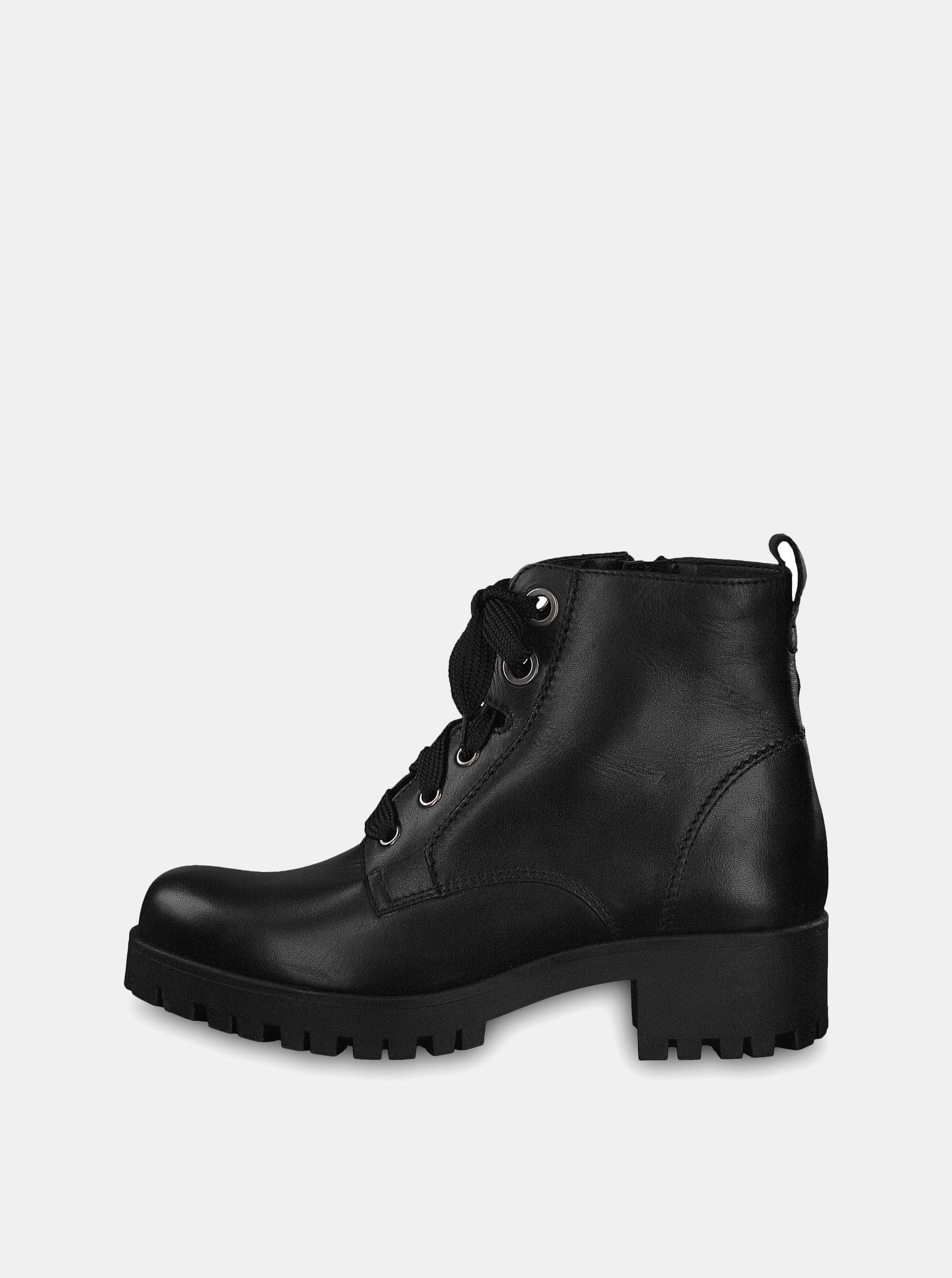 d6ff477780 Čierne kožené členkové topánky Tamaris ...