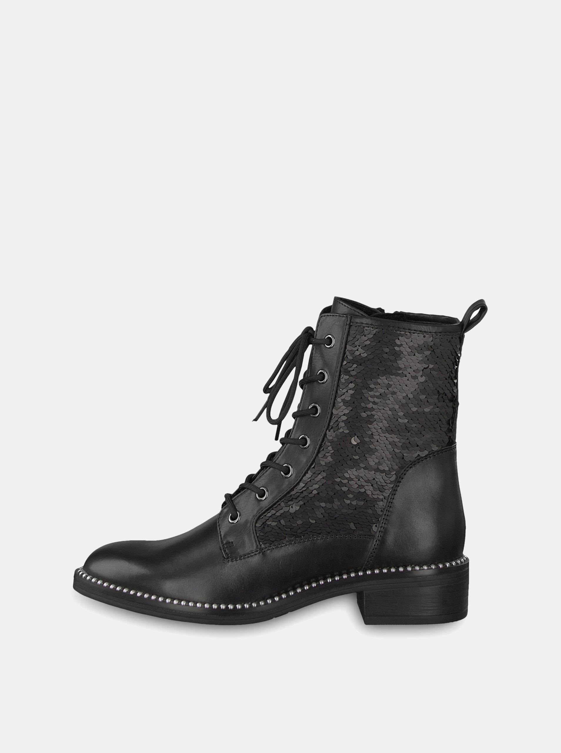 Čierne kožené členkové topánky s flitrami Tamaris ... b2a4c511a33
